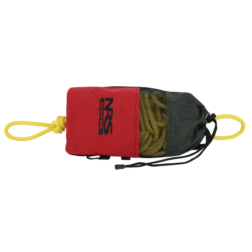 A standard NRS Rescue Throw Bag with 75 feet of rope and a tensile strength of 1900 pounds.