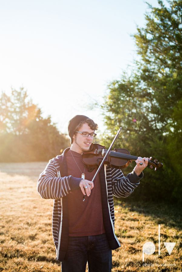 Caleb Senior Portraits Mansfield field trees evergreen winter violin downtown urban walls brick blue boy guy Sarah Whittaker Photo La Vie-5.JPG