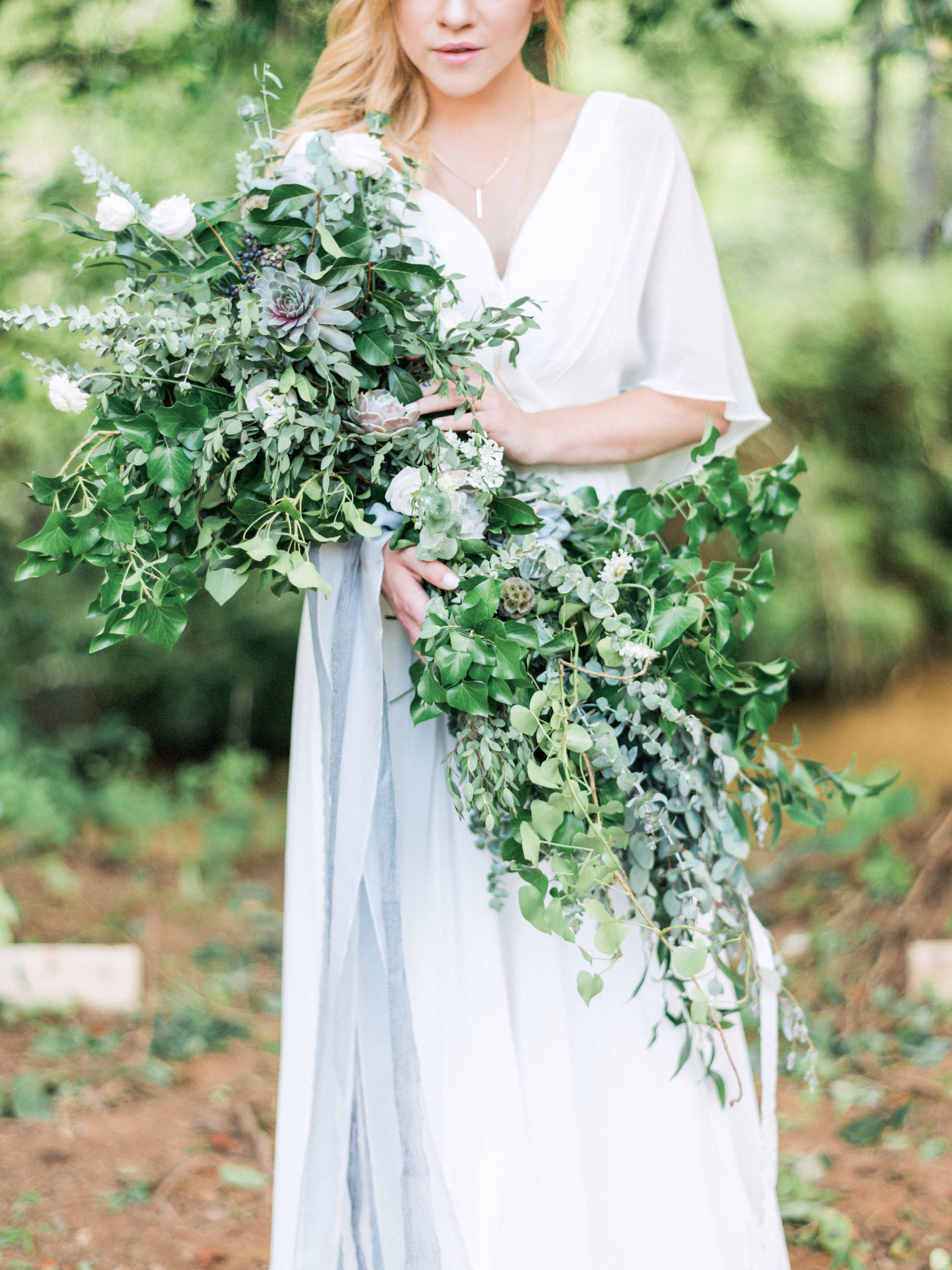 Asheville, NC mountainside wedding inspiration greenery bouquet
