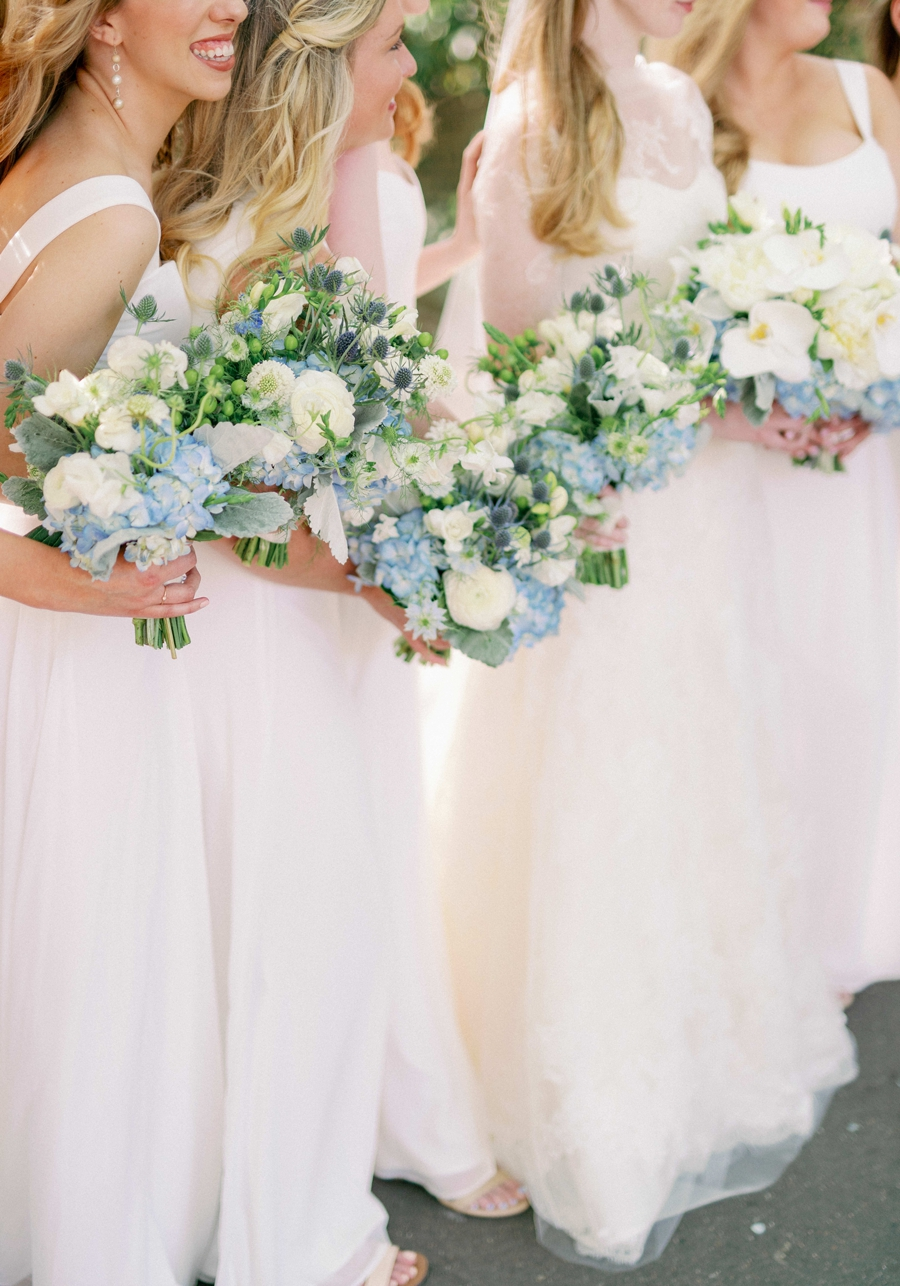 blue and white bridesmaid bouquets