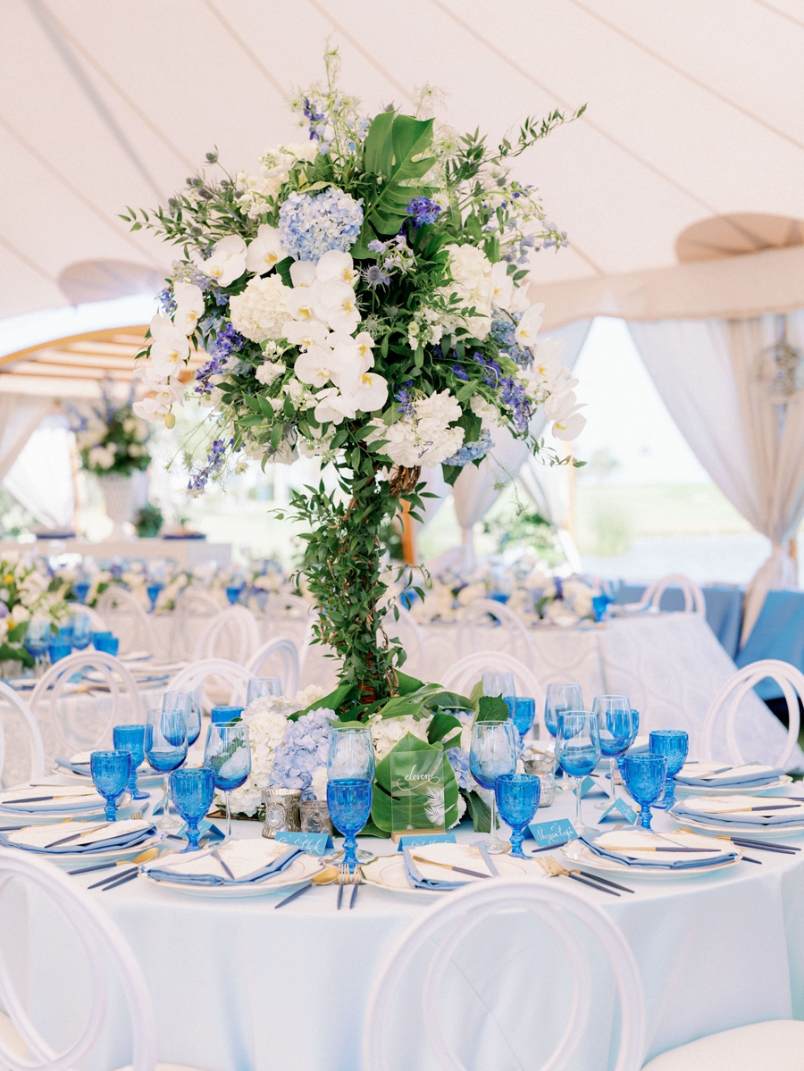 blue and white tall centerpieces