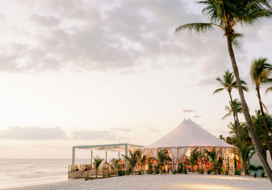 tented wedding on beach