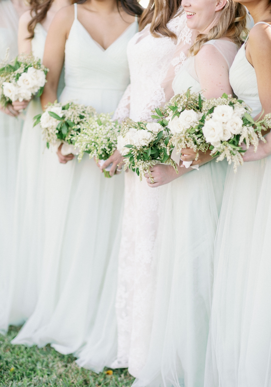 all white bridesmaid bouquets