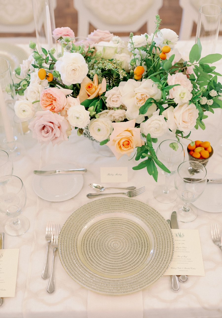 orange and white centerpieces