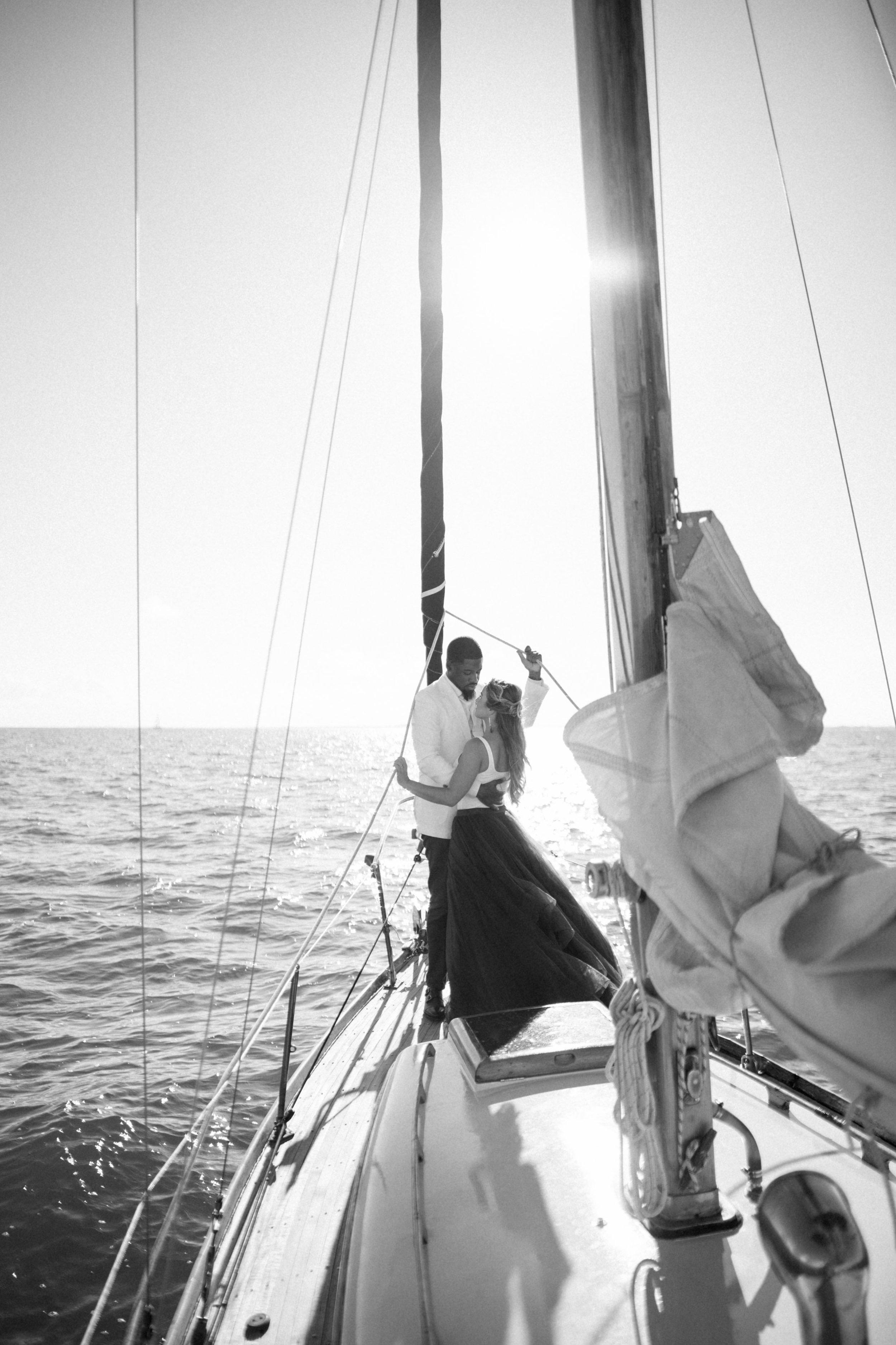 biscayne bay miami sailboat engagement photographer