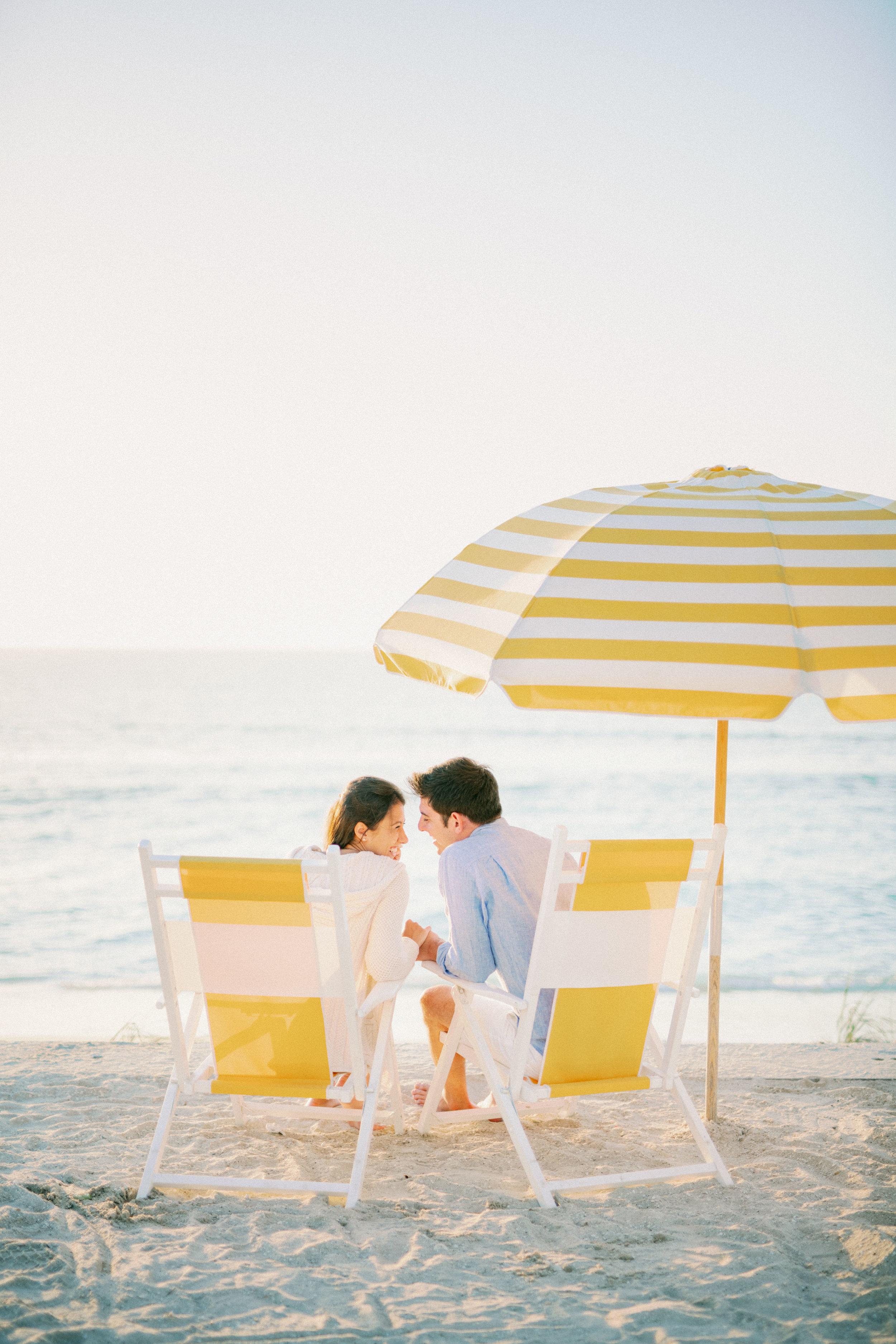 gasparilla island boca grande cute yellow umbrella beach engagem