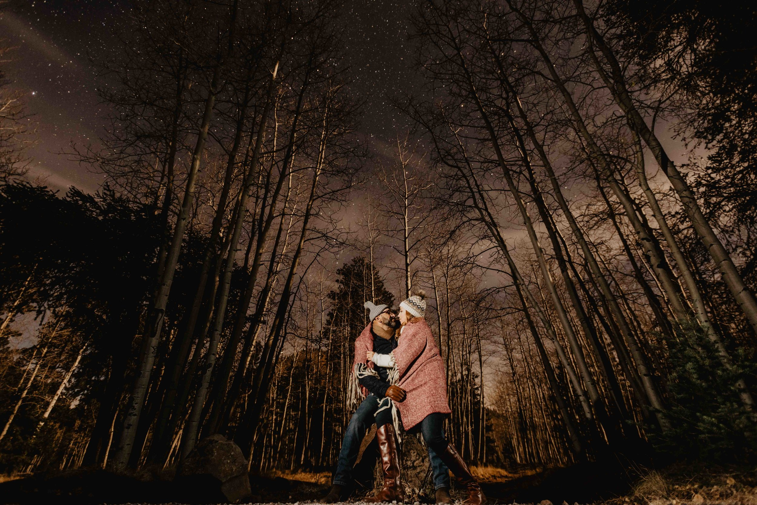 Night Photography - Anniversary Session in Flagstaff, AZ under the stars