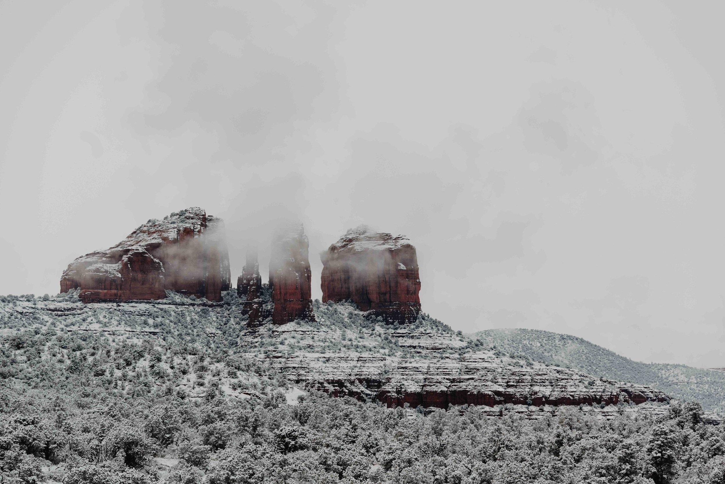 Sedona in the Snow - Cathedral Rock in Sedona, Arizona - Sedona Elopement photographer