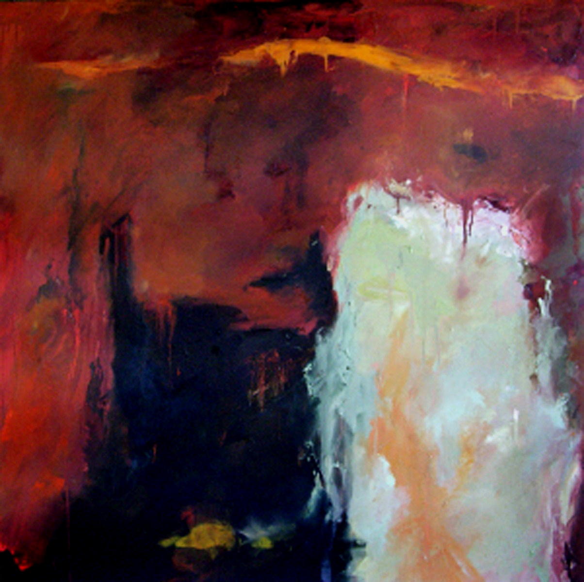 "And There Is Light  , 2003, oil on canvas, 54 x 54""  At times, it is easy for us to succumb to the negativity that the world may suggest, whether it be through circumstance, through the action of others, or through our own insecurities.   This painting is an illustration of the two worlds in which we may choose to live. Two houses stand side by side in the glowing light of dusk. One house is dark, rooted in fear, doubt, and complacency. The other is built on the foundation of hope, illuminated by knowledge, faith, and confidence. A reminder that Light can penetrate even the darkest places."