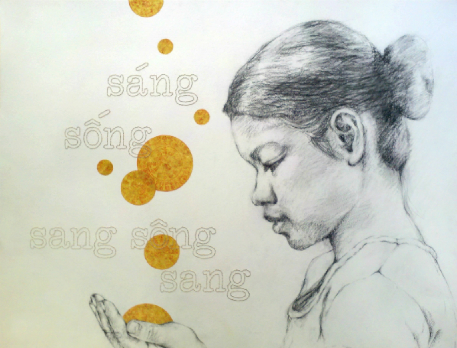 "Sáng, Sóng, Sang Sông, Sang    (To Lighten, to Live, to Cross a River, to Arrive) , 2013, Charcoal, joss paper and hand embroidery on paper, 19 x 24""  This drawing of my mother observes the faith by which my mother lives her life, and the persistence by which she presses forward in this life. She has lived through times of wealth and times of poverty, times of plenty and times of hunger, and like all of us, has persevered through heartache which undoubtedly leads to those cherished moments of healing. The Vietnamese hand-stitched text reads, ""sáng, sóng, sang sông, sang"", which translates to ""to lighten, to live, to cross a River, to arrive"".  Through her life, my mother has taught me that by seeing the world through a lens of hope, we can continue appreciating Life in its entirety regardless of circumstance. And although these storms can devastate and seemingly destroy, we know their worth. Whether to test our Will, to help us recognize those who are true in our lives, to teach us important lessons in compassion, or to test our intrinsic strength, these storms will ever reveal to us the worthy reasons for their afflictions upon us.  As nature has proven, our muscles and bones, just as our Spirits, strengthen under this pressure. Together we have learned that if we can just endure and learn to move with their currents, these storms will eventually come to pass, leaving us scarred but wiser, bent but stronger."