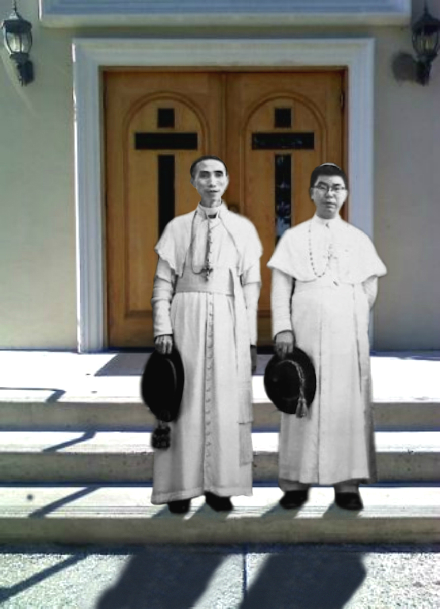 The gentleman on the left: Bishop Lê Hữu Từ of Phat Diem Diocese (1945-1967), who consecrated Grandmother's marriage in 1949 at Phat Diem Cathedral. The gentleman on the right: figurehead of Nord Vietnam Catholicism during 1948-1954 @ Downtown Campbell, 2010
