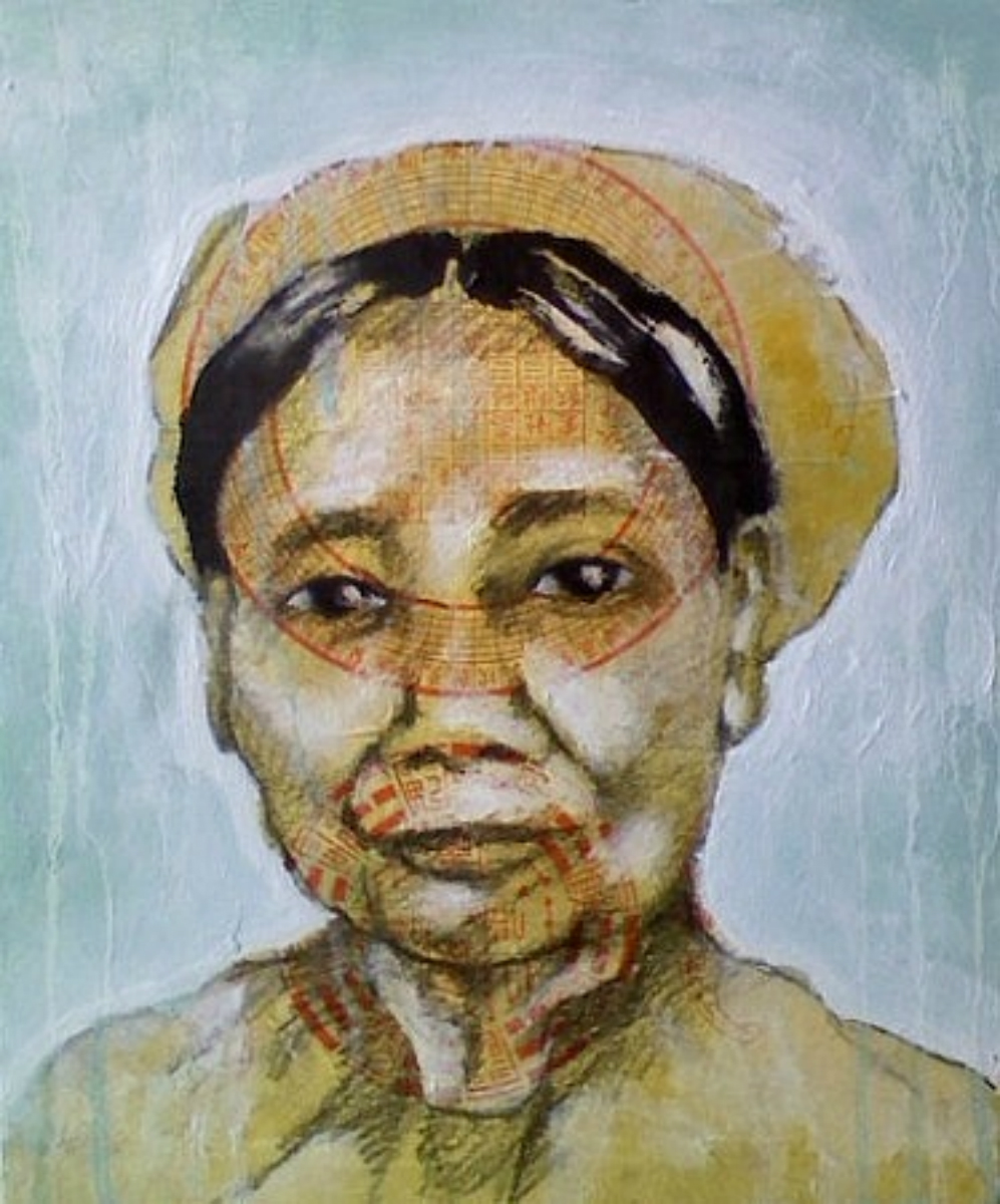 Bà Nội Của Mẹ    (Mother's Paternal Grandmother) , 2011, mixed media on canvas, 12 x 10""