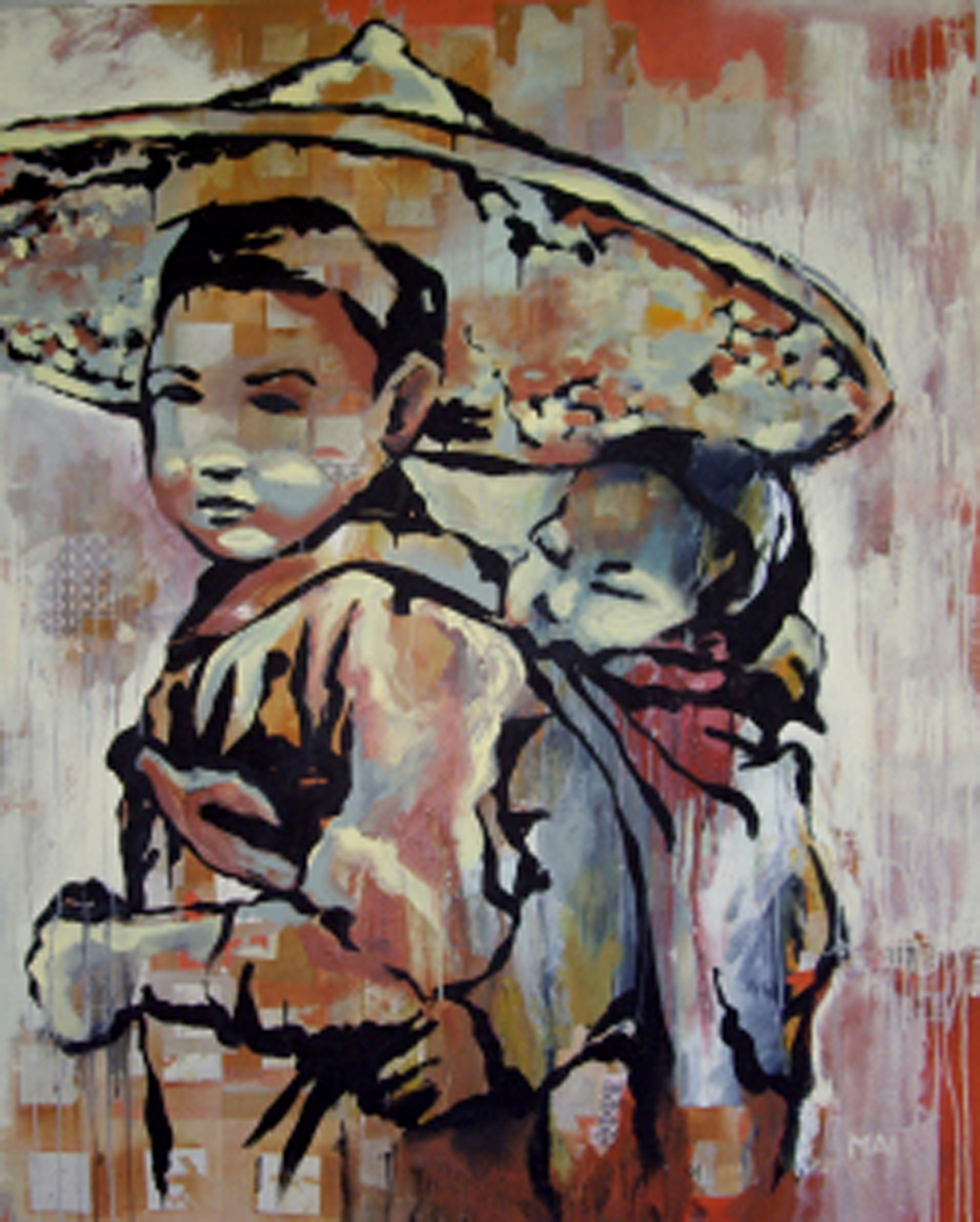 "On Our Way  , 2007, mixed on canvas, 48 x 60""  Collection of Mr. and Mrs. Christopher and Susan Ausschnitt, Naples, FL  This image, painted on a collage of joss paper (handmade paper traditionally burned in prayer in Vietnamese and Chinese cultures), was inspired by the immigrant story. On their journey to America, my husband and his family traveled through the jungles of Vietnam, Cambodia, and Thailand. During their escape from the Viet Cong, they encountered pirates and thieves, fought for their lives, and most were blessed to have survived.  I created this piece while deeply considering our profound resistance as people. Two brothers, one carrying the other. They have experienced the wages of war. They have survived. And so they move forward. We all have triumphed over past afflictions, and with each trial, we recognize our resilience and our strength to move on."