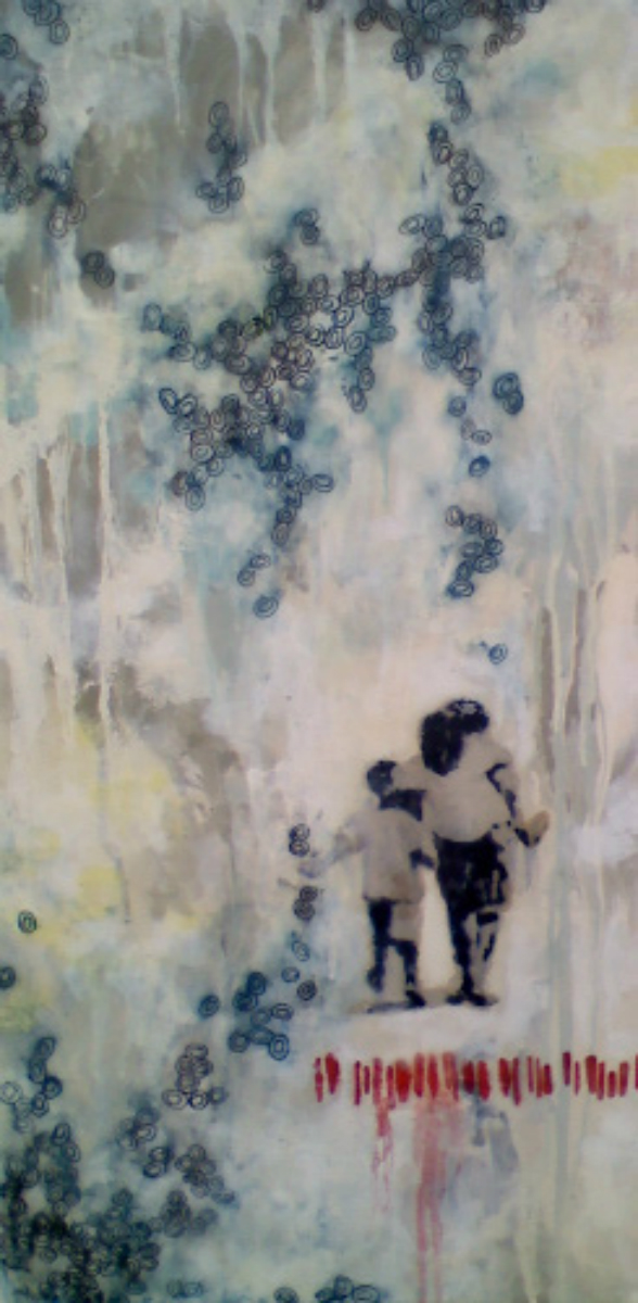 """Together  , 2011, mixed media on canvas, 24 x 12""""  Collection of Mrs. Deanna Reposa Newport Beach, CA Three children hike through the jungle, searching for their way. Although their destination is undetermined, they continue on their path patiently and confidently. This painting is a reminder that although Life will lead us through unknown territory, the journey is far more edifying when we seek understanding together."""