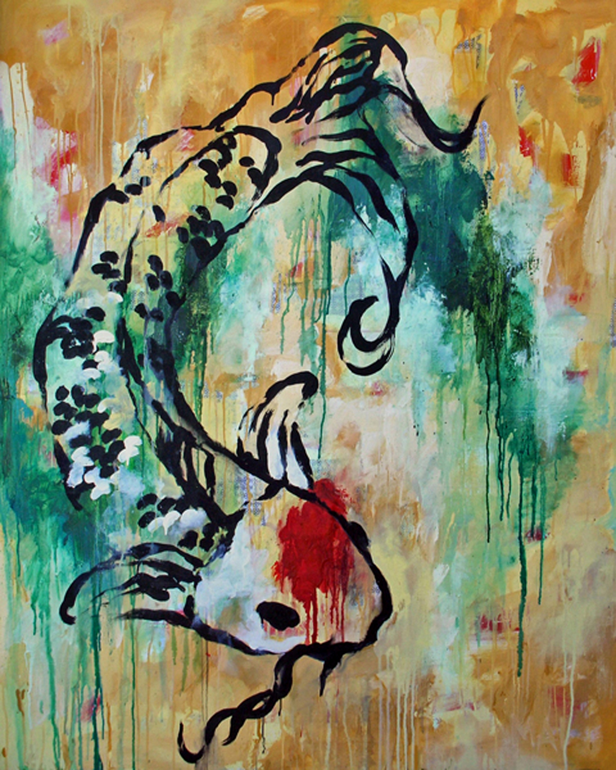 "We Find Strength  , 2008, mixed media on canvas, 60 x 48""  Because koi fish swim against the stream, they symbolize strength in times of adversity.  In times of struggle, I learn to trust my faith, and realize the Infinite resources that I have available to me - these resources that are ever ready to lend themselves to a purposeful will, and help me materialize my thoughts and desires into action, events and conditions which propel the resolve. Through the process, I develop the Faith that is the ""Substance of all things hoped for, the evidence of things not seen"", providing me with the strength to overcome all obstacles that may appear in my path."