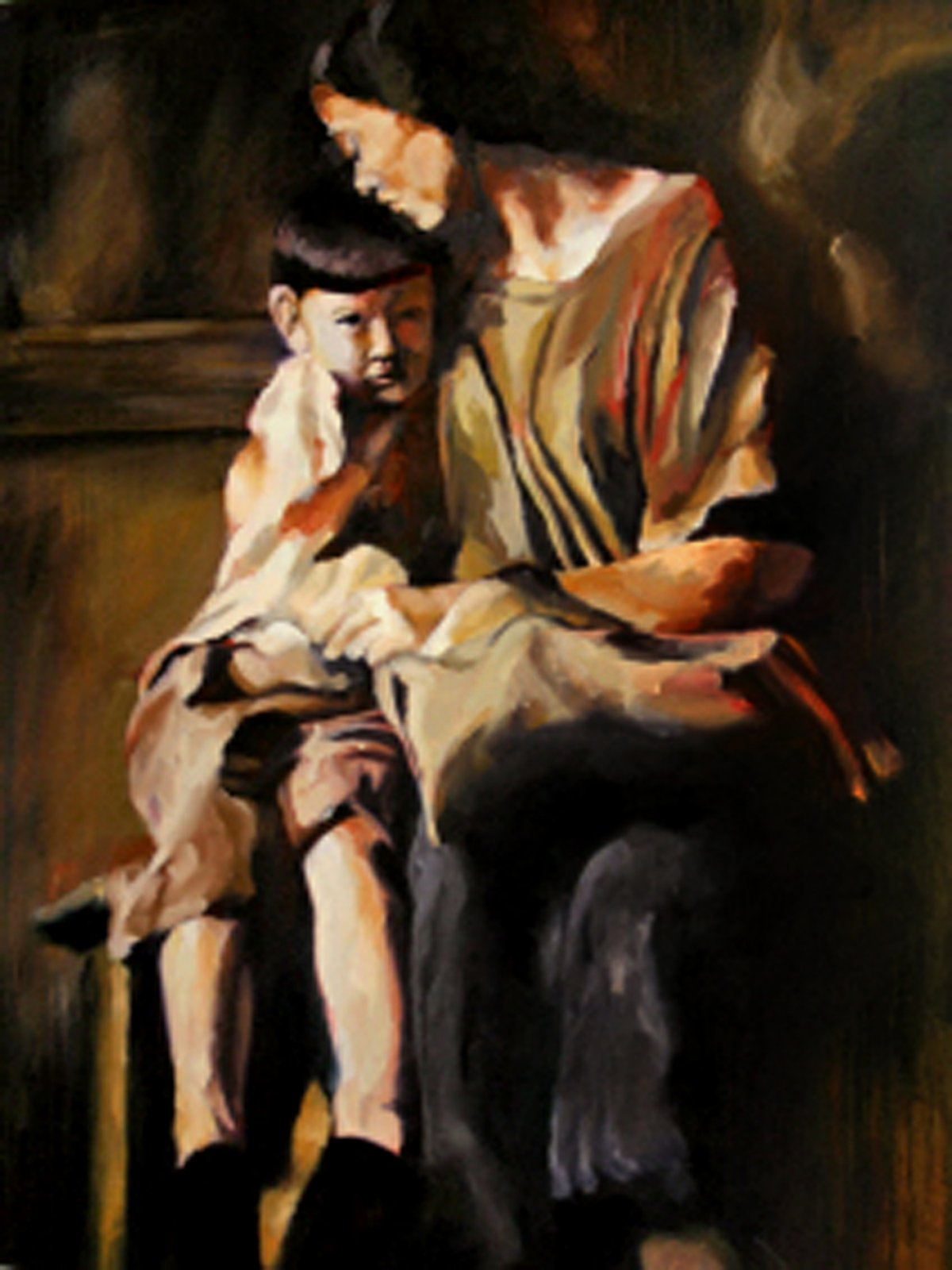 """Remember  , 2003, Oil on canvas, 48 x 30"""" Collection of Mr. Paul Nakada and Mrs. Christine Hoang, San Francisco, CA  With a bag in hand, a mother holds her son before sending him off to the new land.  My grandparents were wealthy people,property owners in North Vietnam. When the Viet Cong invaded, my grandparents migrated south to Saigon with their family, where they and their children would be apart from communist rule. Here they found their salvation for a time, until the the Viet Cong moved further south, resulting to their escape. They left behind all material possession, their homeland,and the life they once knew, in order to seek freedom elsewhere, anywhere but here. This painting is dedicated to those who have sacrificed much in order to allow their loved ones a greater opportunity."""