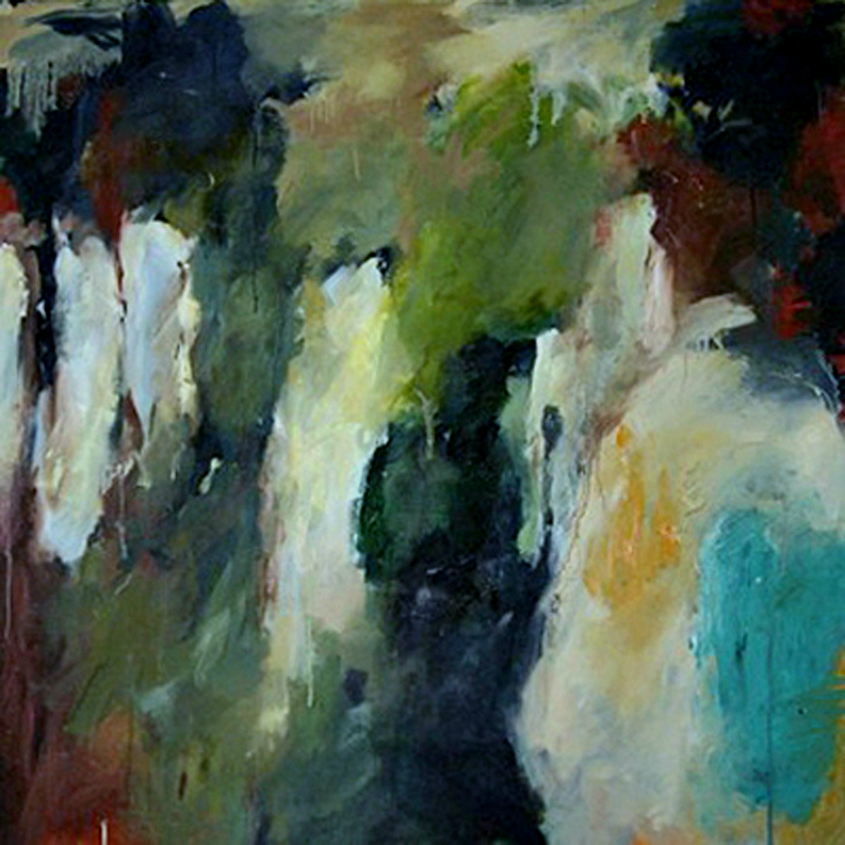 "Among Us  , 2003, oil on canvas, 54 x 54"", Collection of Mrs. Jamie Ross, Naples, FL  Beginning as an abstract representation of an interior (a painting studio in which I spent countless hours), this painting evolved into a window into the spiritual and subconscious world that influences my every vision. What begun as large windows evolved into angelic figures, surrounding a central figure.   This painting serves as a reminder that throughout the times we feel that we no longer have the strength to keep our light illuminated, there are forces both visible and invisible that will protect, guide, and strengthen us."