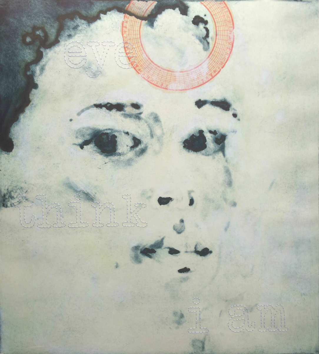 Eye Think I Am,   2011, mixed media on intaglio print on fabriano paper, 24 x 18""
