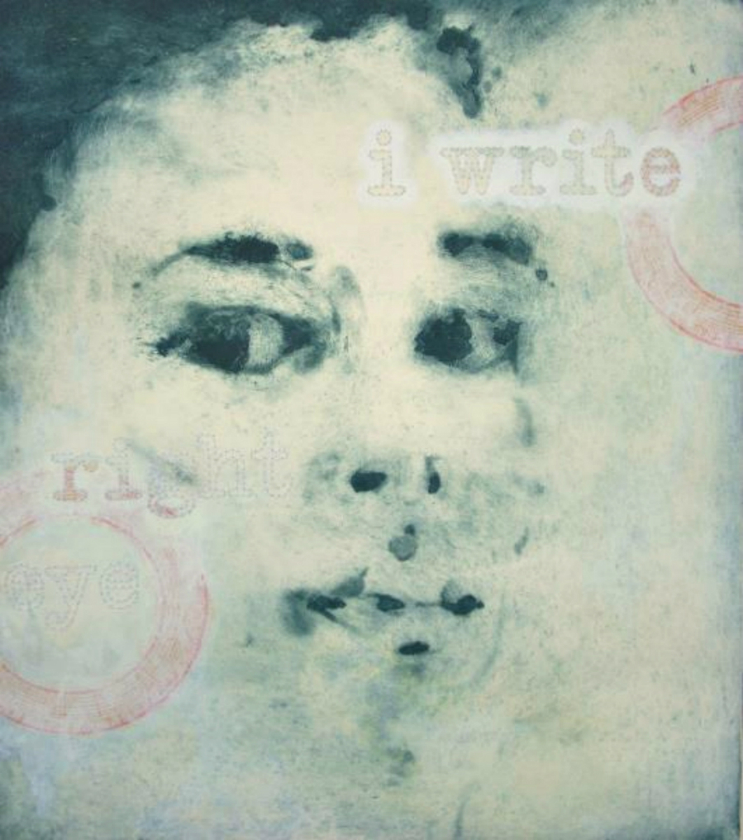 "I Write, Right Eye,  2011, mixed media on intaglio print on fabriano paper, 24 x 18"", Collection of John and Nikki Dinh, San Francisco, CA"