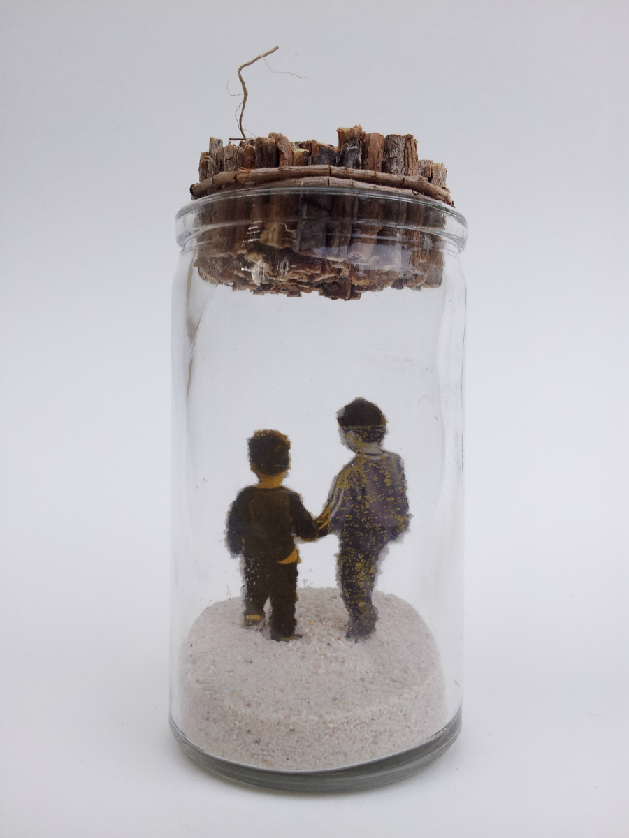 "Little Princes   No. 3 from  Little Princes  installation, 2014 Acrylic, ink, paper, plant roots, and sand in glass jar 4 ½"" height x 2"" diameter  Underside reads:   Little Princes , signed and dated"