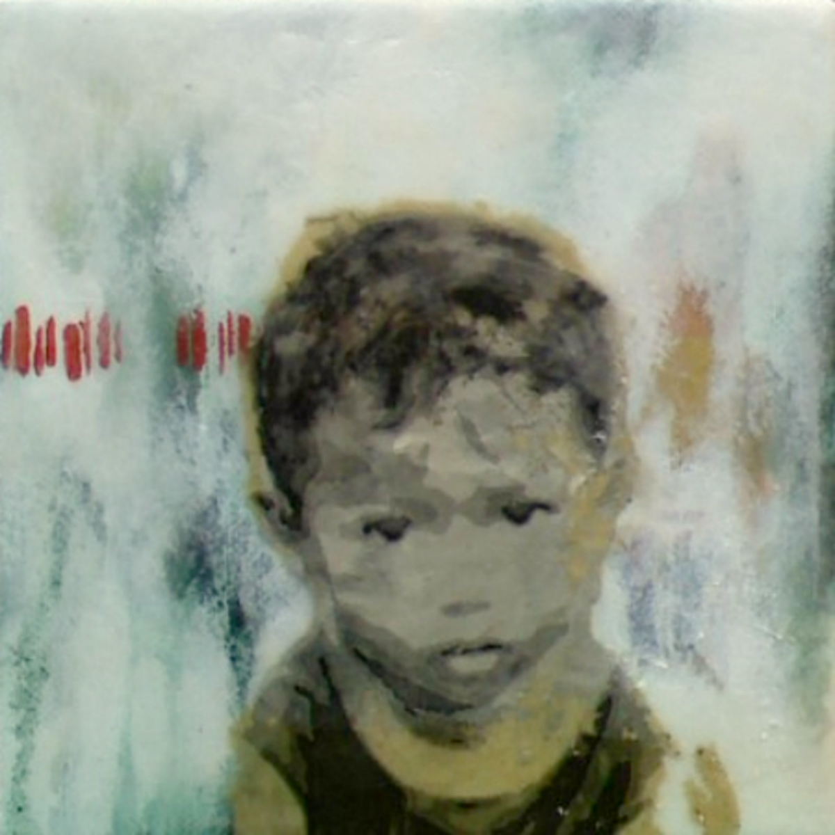 "Our Very Own (2nd Child)  , 2011, Mixed media on canvas, 6 x 6"", Collection of Christopher Hest, New York, NY"