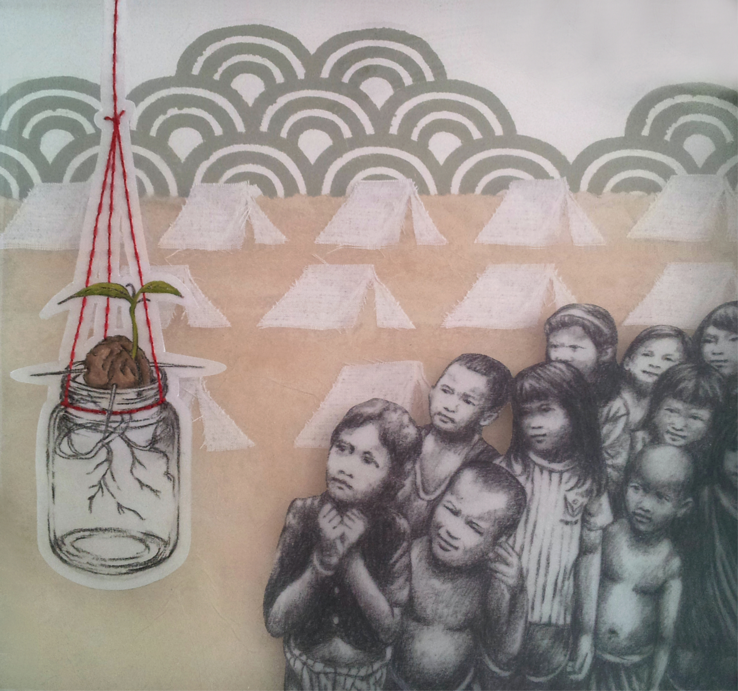 """Arrival  , 2014, mixed media on acrylic, mylar, and paper, 11 1/2 x 11 1/2""""  A myriad of tents awaits the arrival of Vietnamese refugees while children gather to observe the sprouting of a new beginning.  The tents are cut from the scarf that I wore upon my head during my great-grandmother's funeral, a Vietnamese tradition to differentiate between the generations which stem from the deceased."""