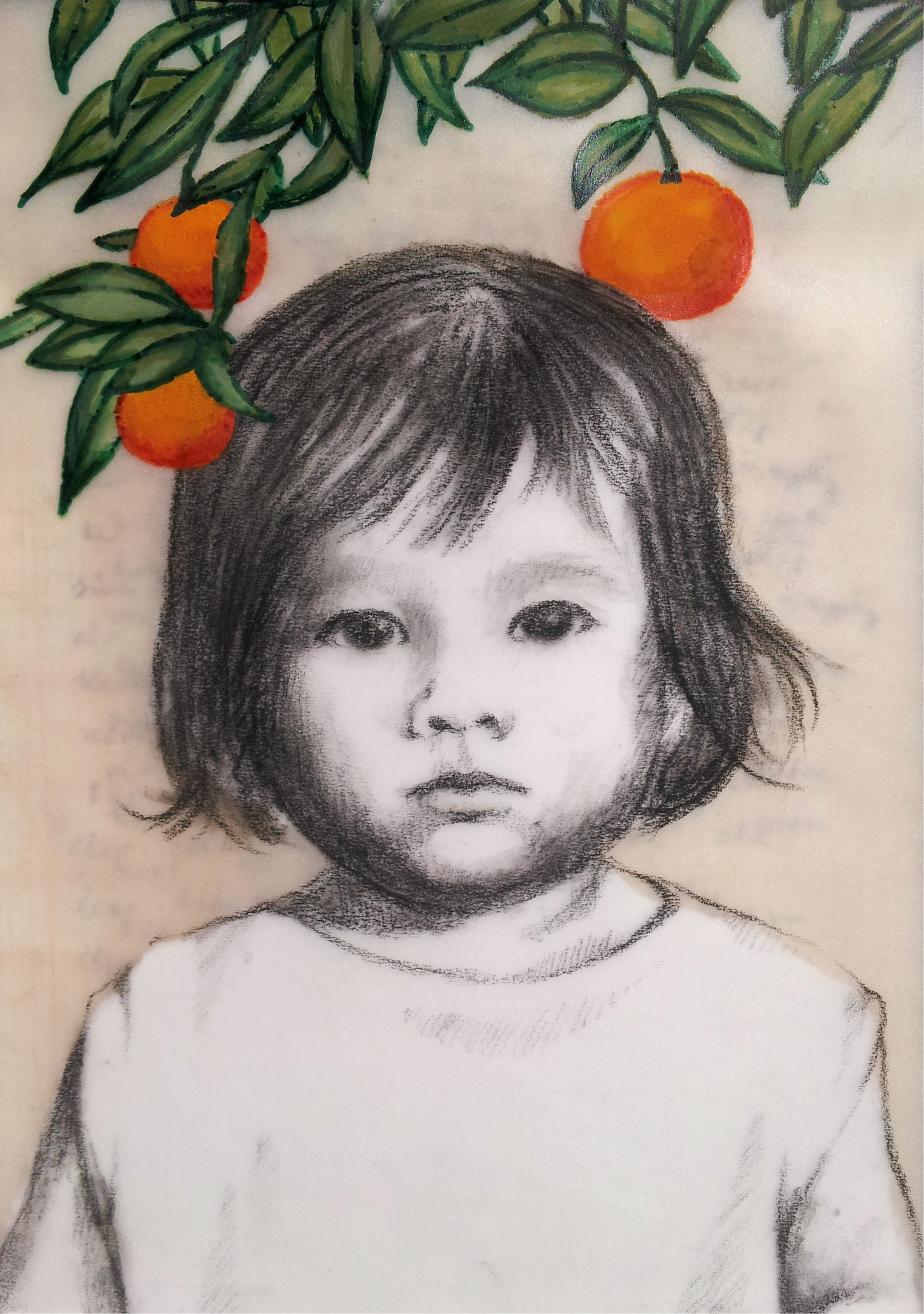 "Love Letter No. 1   (  Dan Tam with Tangerines  ), 2014, Mixed media on papyrus and mylar, 6 ¾ x 4 ¾""  Young Dan Tam stands under a tangerine tree, tangerines symbolizing abundant happiness."