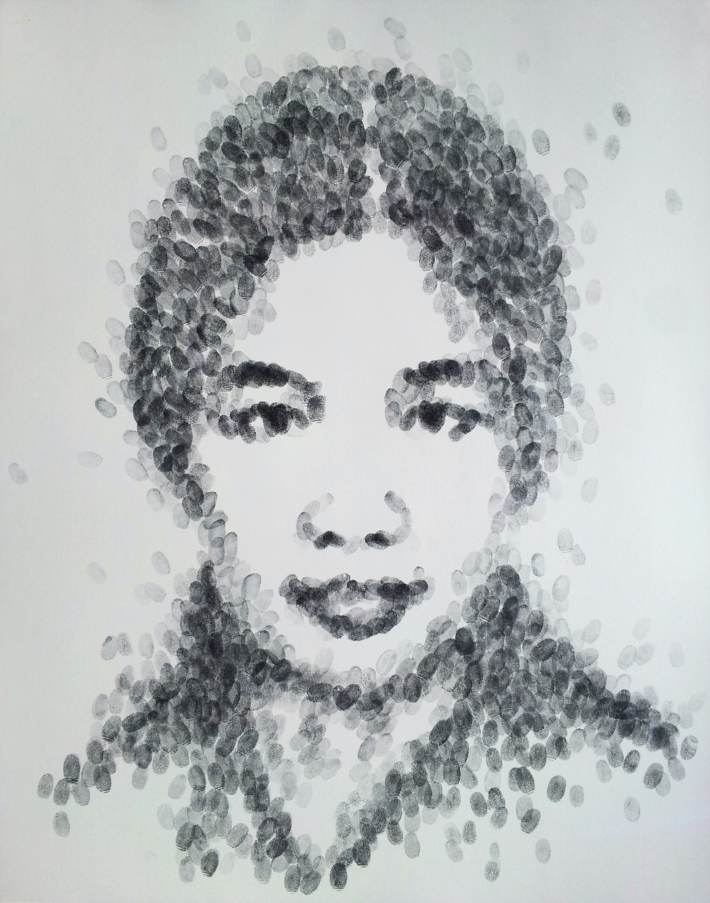 Bà Ngoại (Grandmother)  , 2015 Ink (fingerprints) on paper, 19 x 24  In considering those who have touched me my life so deeply and have left their imprints, I sigh a deep breath of gratitude for my Grandmother. Her faithfulness, her thoughtfulness, her reverence for humanity, and the way she gave love so generously has moved me in such profound ways, that I have embraced these as life lessons to help me live a fulfilling life. In this way and in so many others, she lives on through me and has helped shaped my identity.   My hands grazed her face softly and intimately as I created this portrait of her with my own fingerprints. The marks symbolize this identity that she had helped develop throughout my life while she was here with us, as well as the identity that her vivid memory continues contouring still.