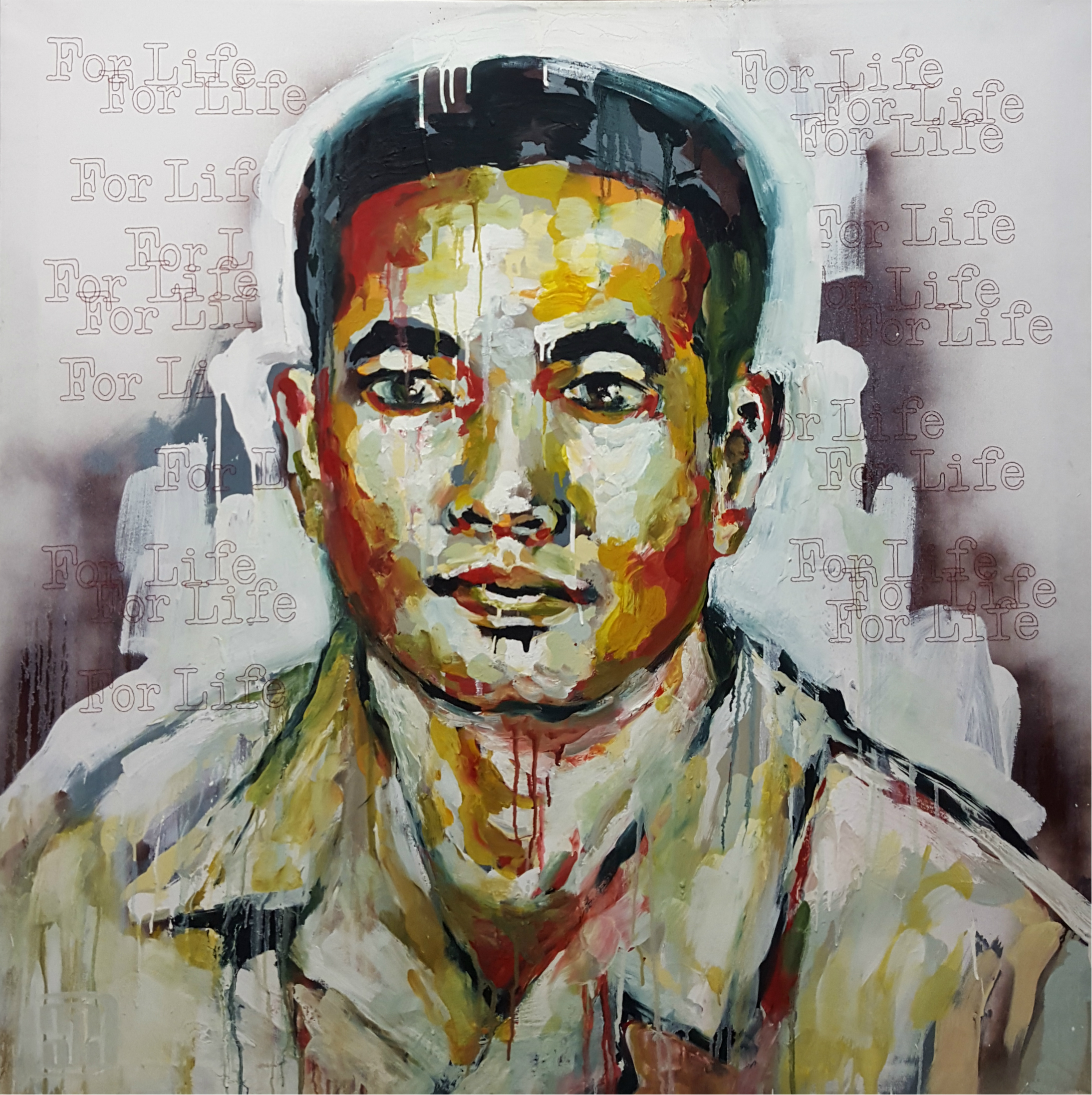 """A Prayer for Anh Đức  , 2010, Oil, acrylic and hand embroidery on canvas, 48 x 48""""   I recognize the gallant soldiers of past and present who have sacrificed their lives in battles for Freedom. From the South Vietnamese soldiers who stood their ground in honor of their people to those who have fought to defended their families, their beliefs and their nations. I honor the ones who have triumphed in their own personal wars.  This portrait is an homage to my brother-in-law, Anh Đức, who following in the footsteps of his father, a general in the South Vietnamese army, spent a great deal of his life as a soldier at war. His latest tour in Afghanistan held our family in a lasting plea for his return home. Serving as a meditation, the words For Life are stitched repetitively as a shroud for him in this visual prayer. Rhythmically breathing in as I puncture the canvas and breathing out as I pull the thread, I ask for Duc's protection and commit to full faith that God heeds the cry of the children."""