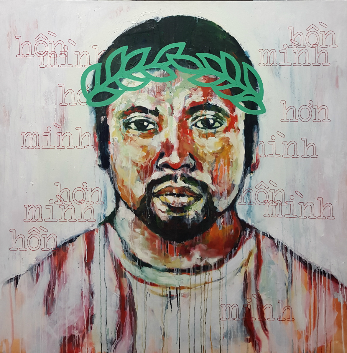 "Hồn Mình Hơn Mình,   2012, Oil and hand embroidery on canvas, 48 x 48""  Since antiquity, the laurel wreath has been a powerful symbol of victory. Here, a man, exhausted from all that he has had to endure, wears the laurel wreath which he has earned through his unyielding Faith and perseverance.  The hand stitching reads, ""Hồn mình hơn mình"" (pronounced ""Hone ming hun ming""), a Vietnamese phrase that translates to ""Our Spirit is greater than us."" Breathing in while puncturing the canvas and breathing out while pulling the thread, the physical rhythm created during the process of hand stitching assists me in mediating upon the subject at hand. This painting intends to be a reminder to all who have fallen short of breath during the battles which are essential to the life experience. A reminder to all that we shall triumph as we cultivate our inherent Will to overcome."