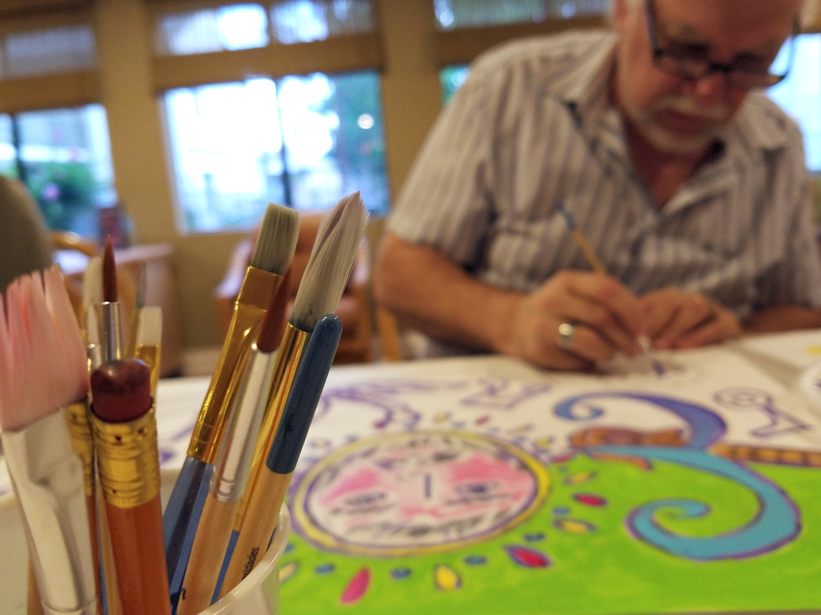 """While Joe worked on his self portrait, he shared, """"I can't drive in my car without noticing a color and asking myself, """"How do I mix that color? Everything looks like a potential painting now."""""""