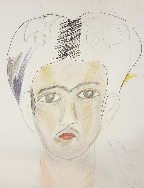 ron's portrait of frida khalo (in progress)