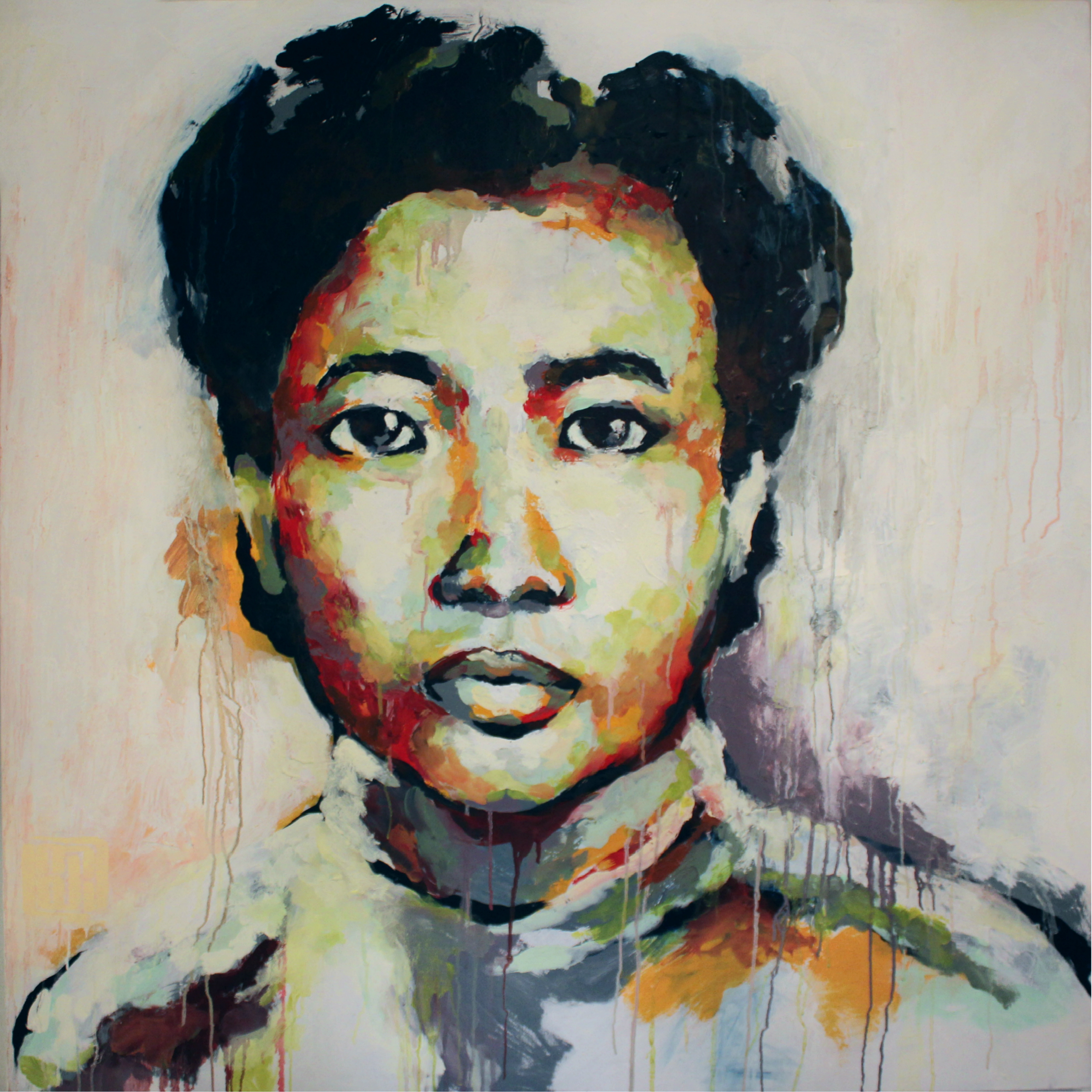 """Bà Ngoại       (Grandmother) , 2011, oil and acrylic on canvas, 48 x 48"""", Collection of Dr. Tin Do, San Francisco, CA  Often emphasizing the importance of compassion, forgiveness and empathy, my grandmother is one of the loveliest individuals I have ever known. Her unwavering faith in people, her dedication to spiritual prosperity and her love for life has encouraged me to love more deeply and to more openly pursue Truth."""