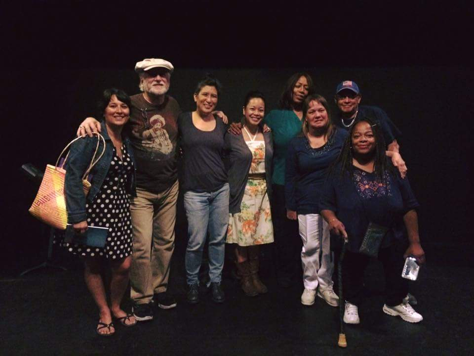 Left to right: Sarah Rafael Garcia, Founder of LibroMobile; Joe Buffardi, Artist; Kimberly Alidio, Writer; Trinh Mai, Artist; La Verne Culpepper, Artist; Teresa Rohmer, Poet; Ron Segura, Artist; Sharonda Caldwell, Artist