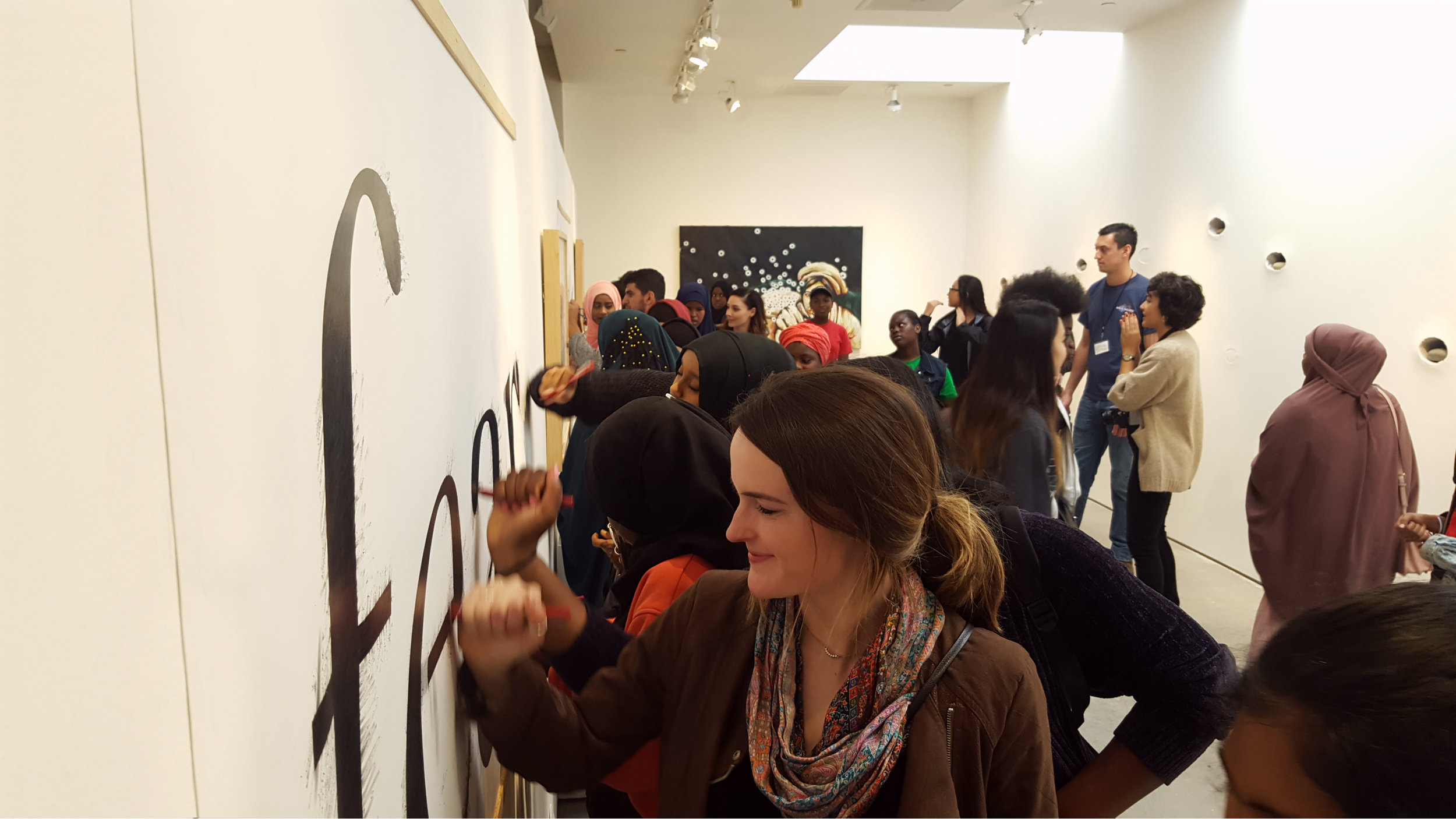Community members participating in   Fear Not.   at San Diego Art Institute