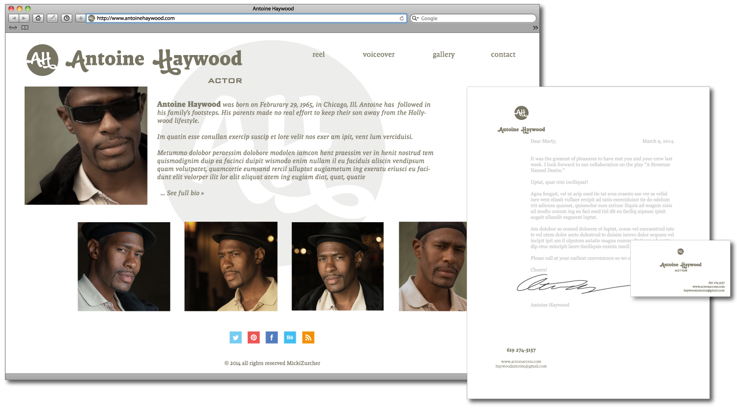 Actor's personal website, content added, close-up.