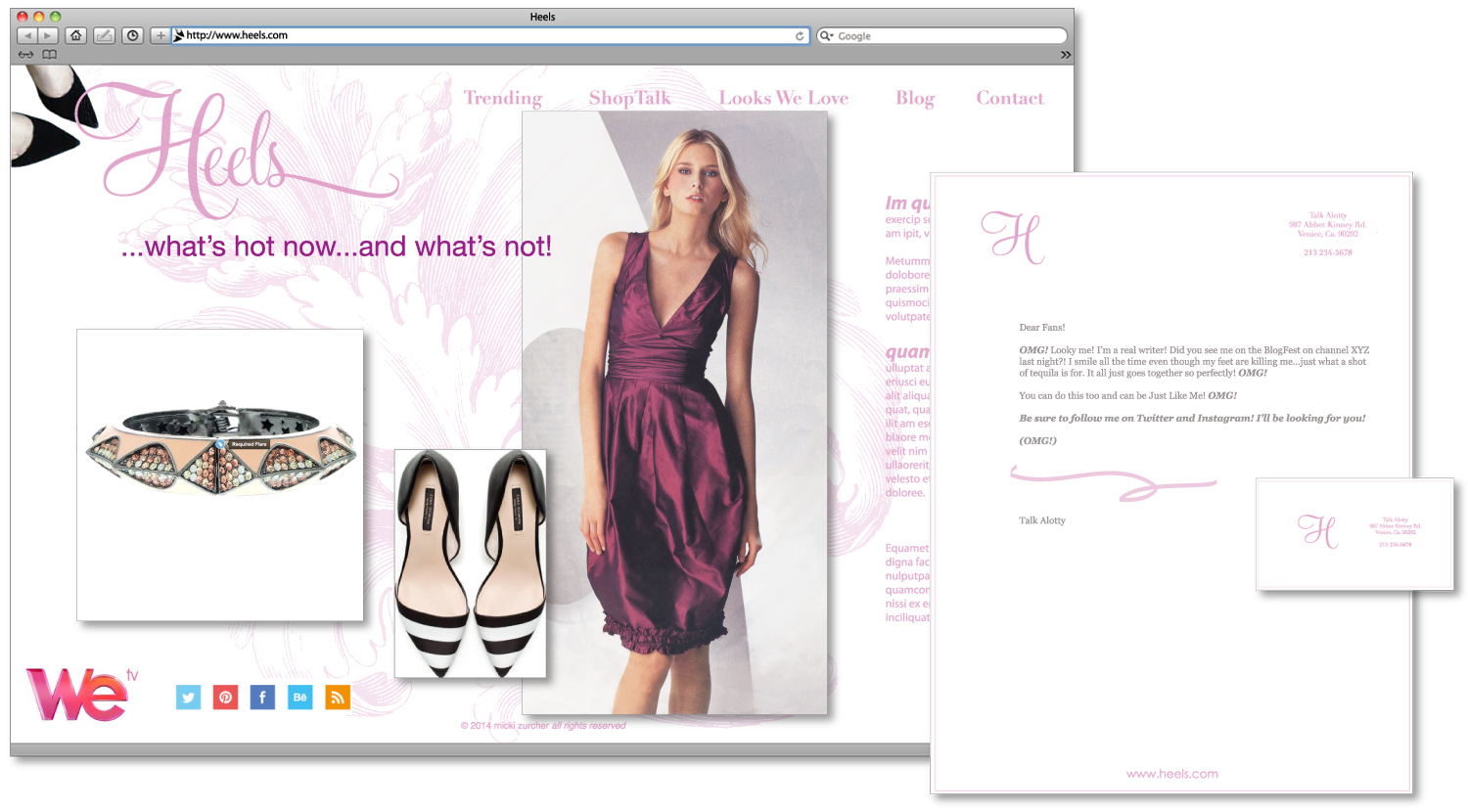 Fashion blogger's website, content added, close-up.