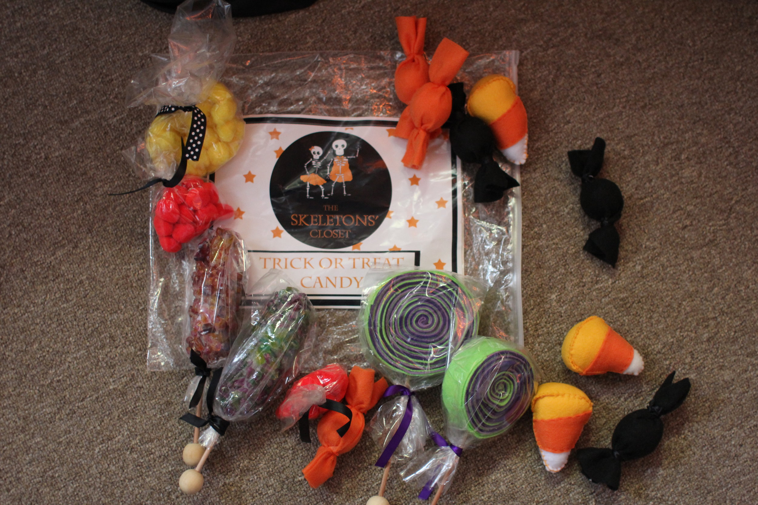 Lollipops, rock candy, candy corn, cinnamon dots, lemon heads, and taffy.  Oh my.