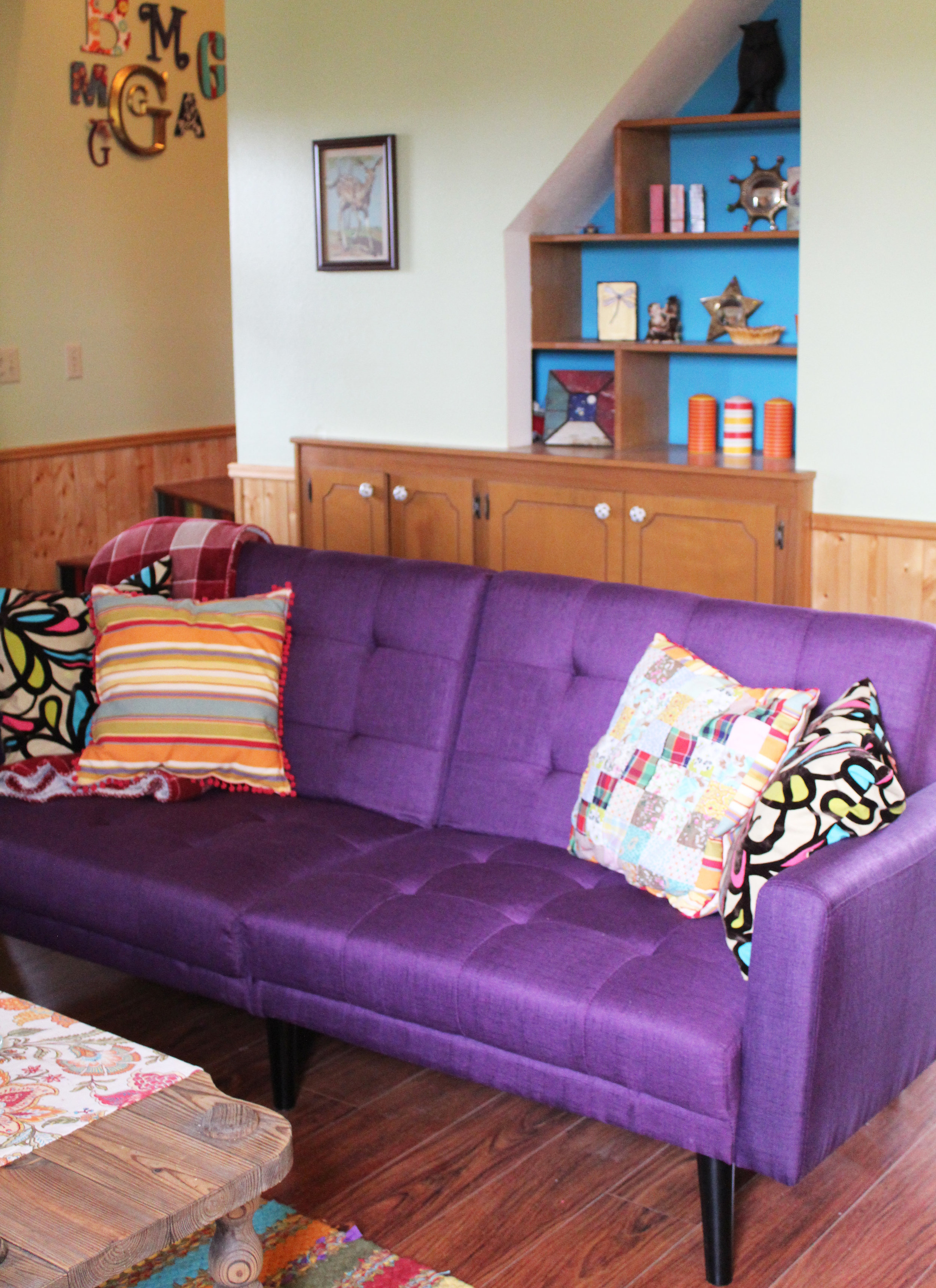 So that's my DIY - Yep! I don't always paint on canvas. Sometimes it just works out better to make it yourself...and hey why not paint your own fabric.I love how it turned out and I like my purple couch.Tell me what you like to DIY below in the comments. I would love to know.