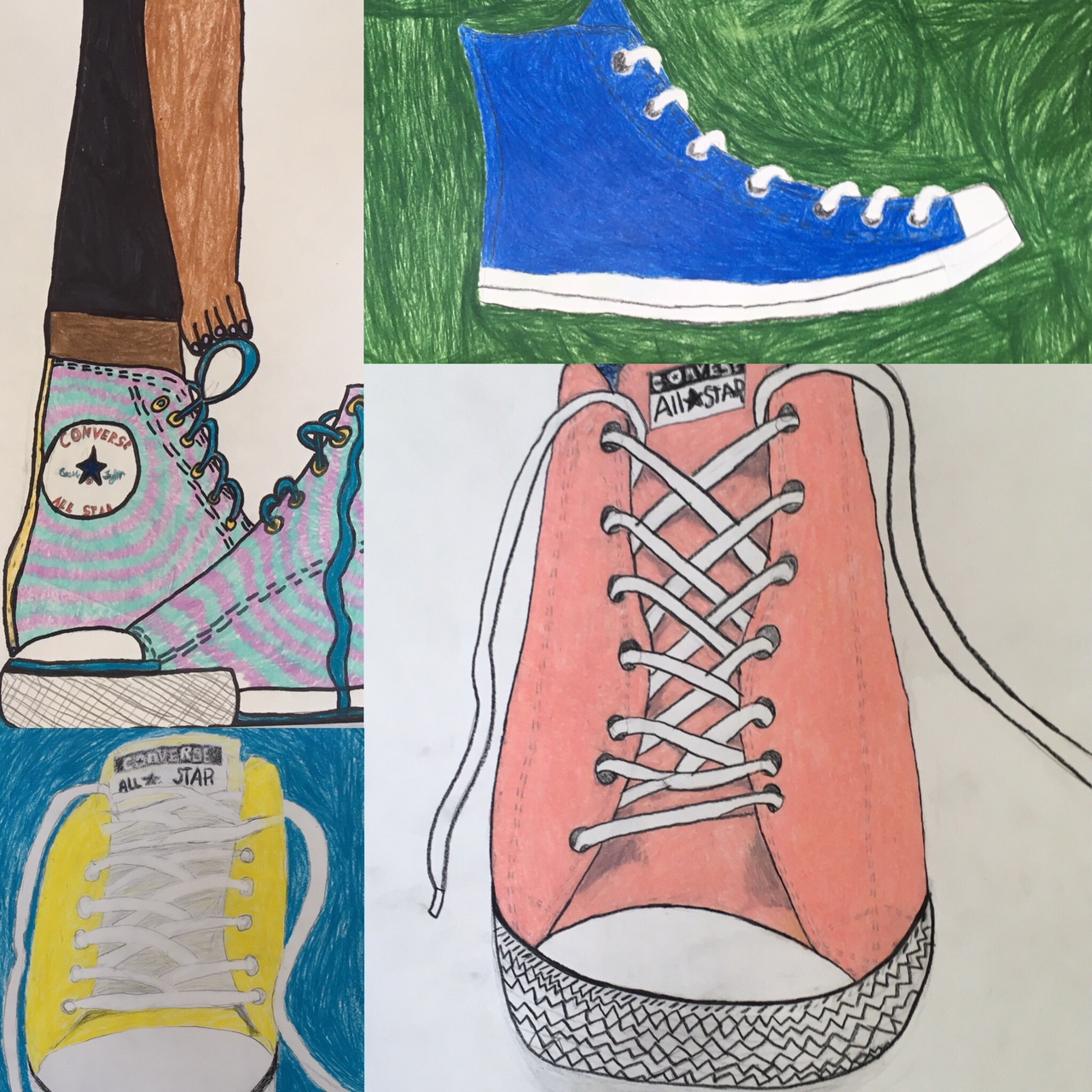 We drew tennis shoes...really big!