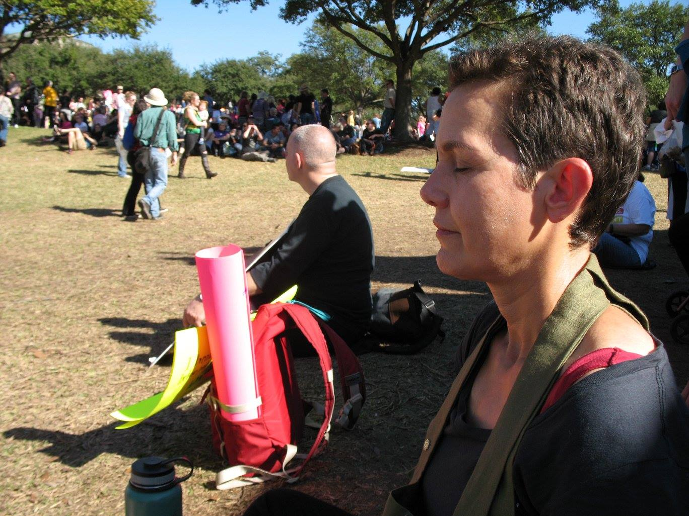Mary Carol Edwards meditating at the Austin March