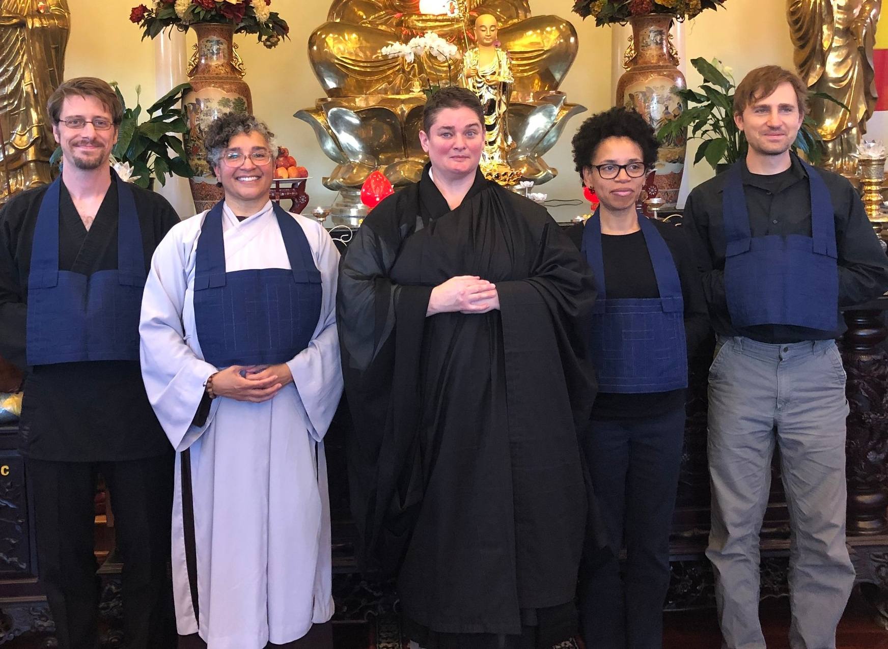 Bodhisattvas with Senior Sewing Teacher Reverend Zengetsu Vicki Glenn