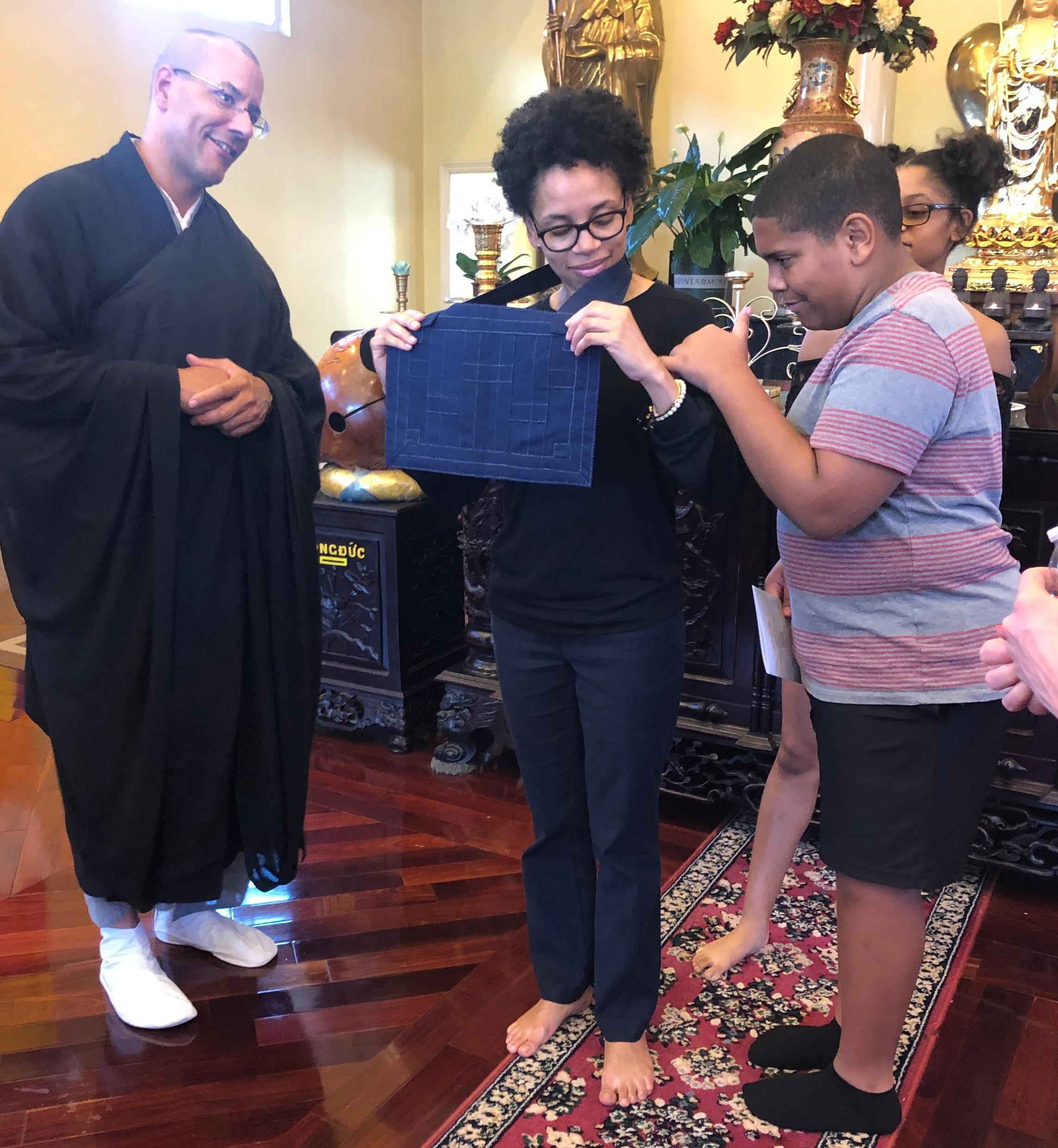 Mom's new rakusu! Rev. Gyōzan Johnson, Bright Lotus Asiyah Hankins and two of her children.