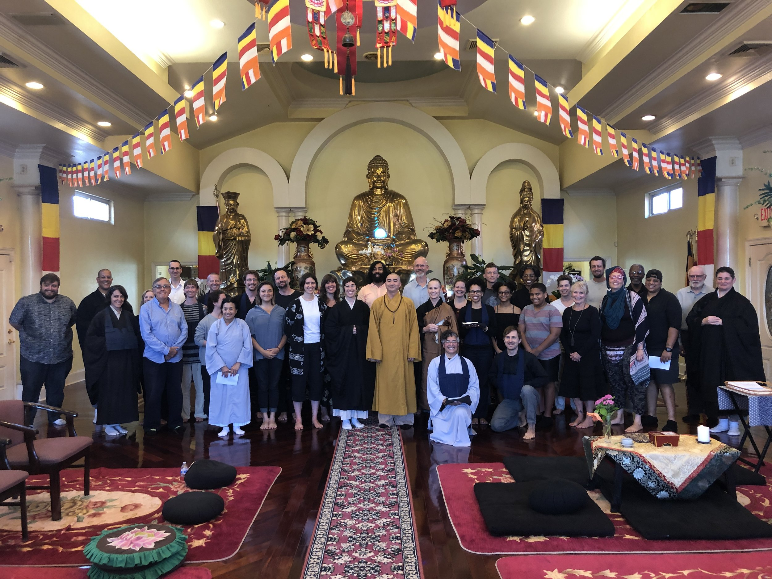 Everyone, before the main altar at Van Hanh Buddhist Temple in New Orleans.