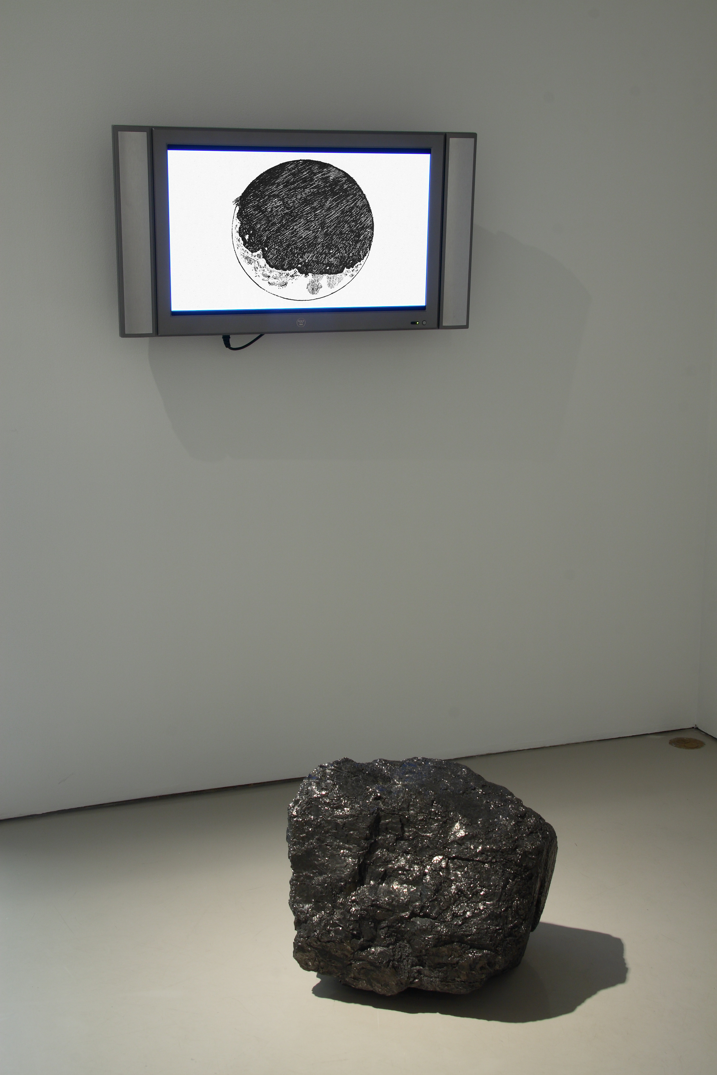 "with Blanche Bruce    Motus Librationis,   2008  26"" flat screen monitor, digital video, anthracite"