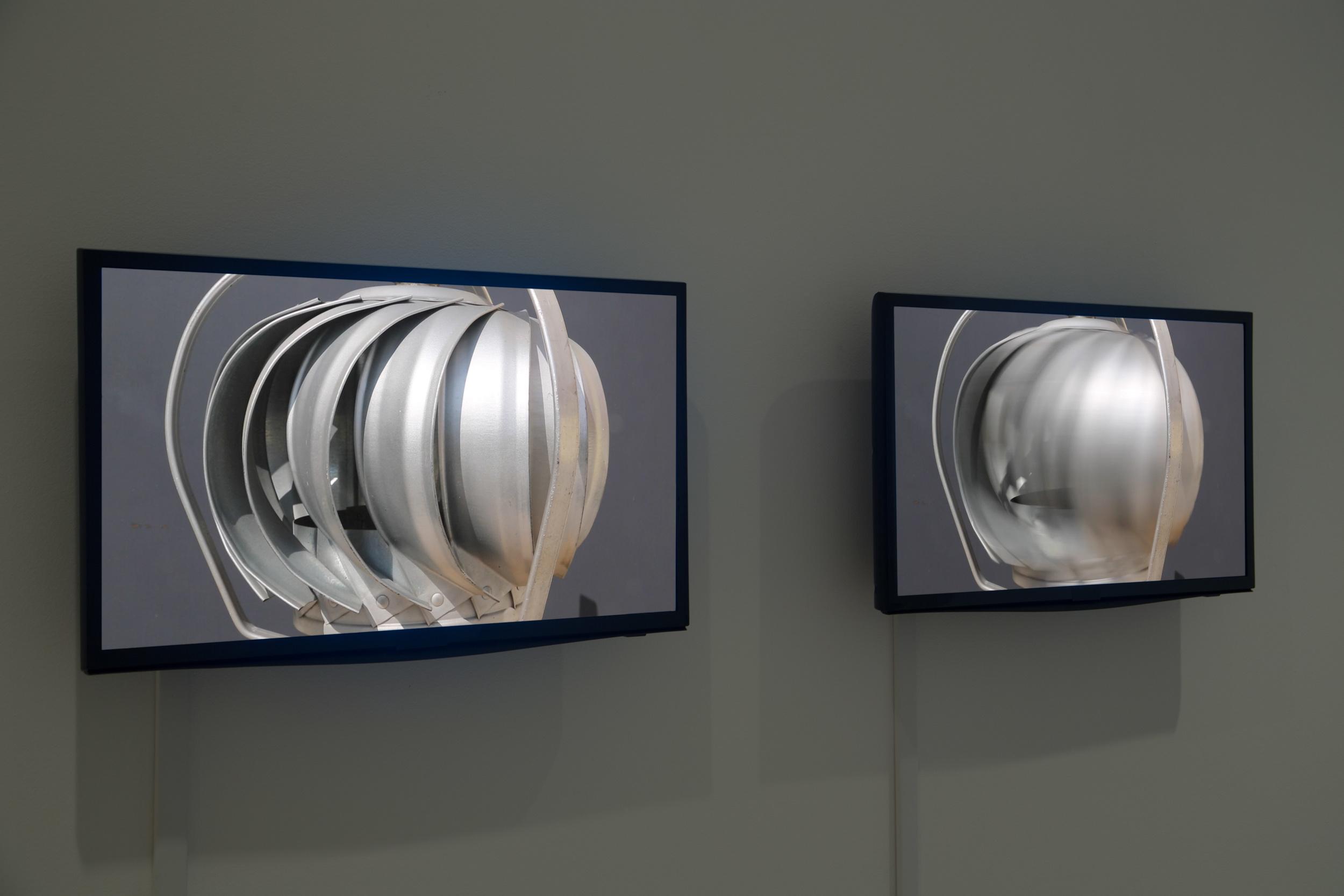 Pneumatic  , 2017  Video, flat screen monitors, industrial fans