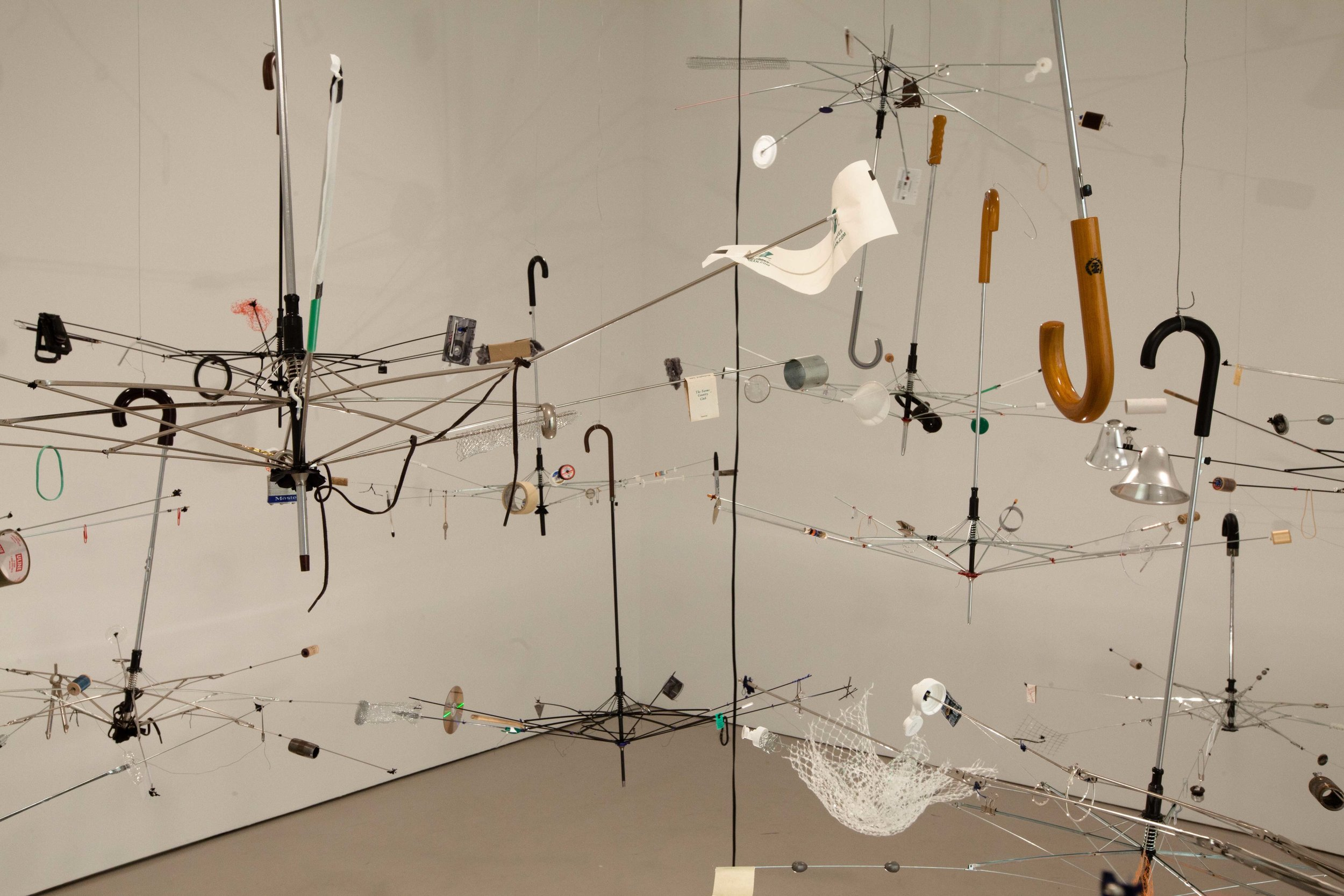 Orrery  , 2011  umbrellas, turntable, studio detritus and mixed media  dimensions variable