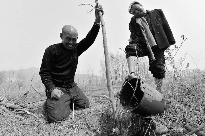 BLIND MAN AND ARMLESS FRIEND PLANT TREES (photo essay)