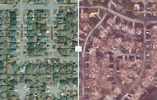 SWIPE MAP OF MOORE - BEFORE & AFTER THE TORNADO
