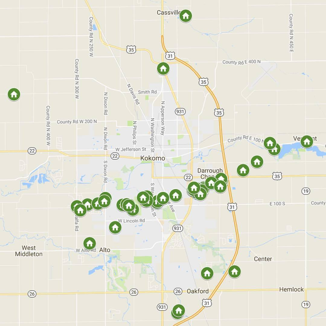 MAP OF PLANTING LOCATIONS FOR KOKOMO RETREET